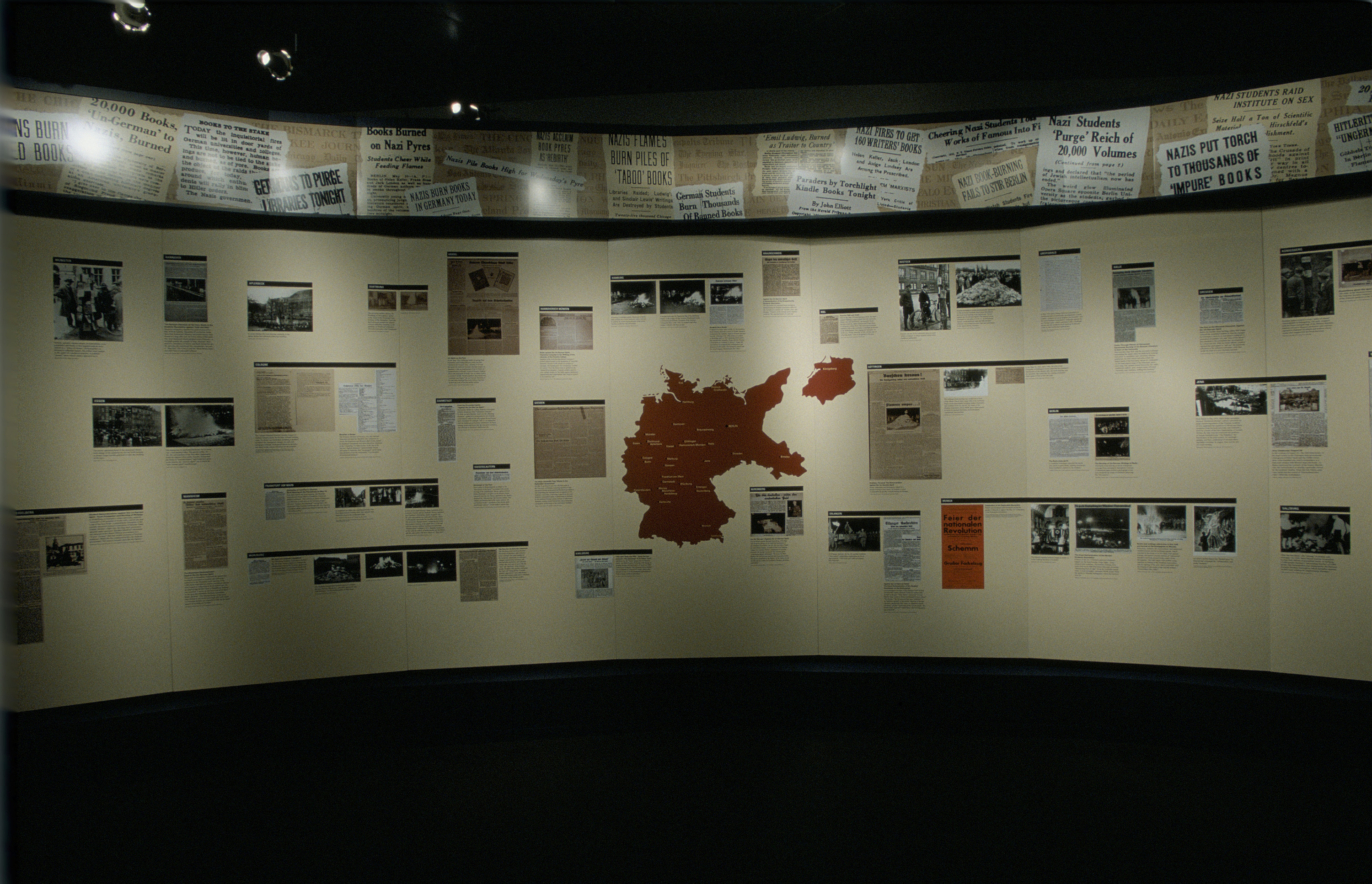 "View of a panel in the Students in the Nazi Revolution section of the special exhibition ""Fighting the Fires of Hate: America and the Nazi Book Burnings"" (April 29 -- October 13, 2003), U.S. Holocaust Memorial Museum."
