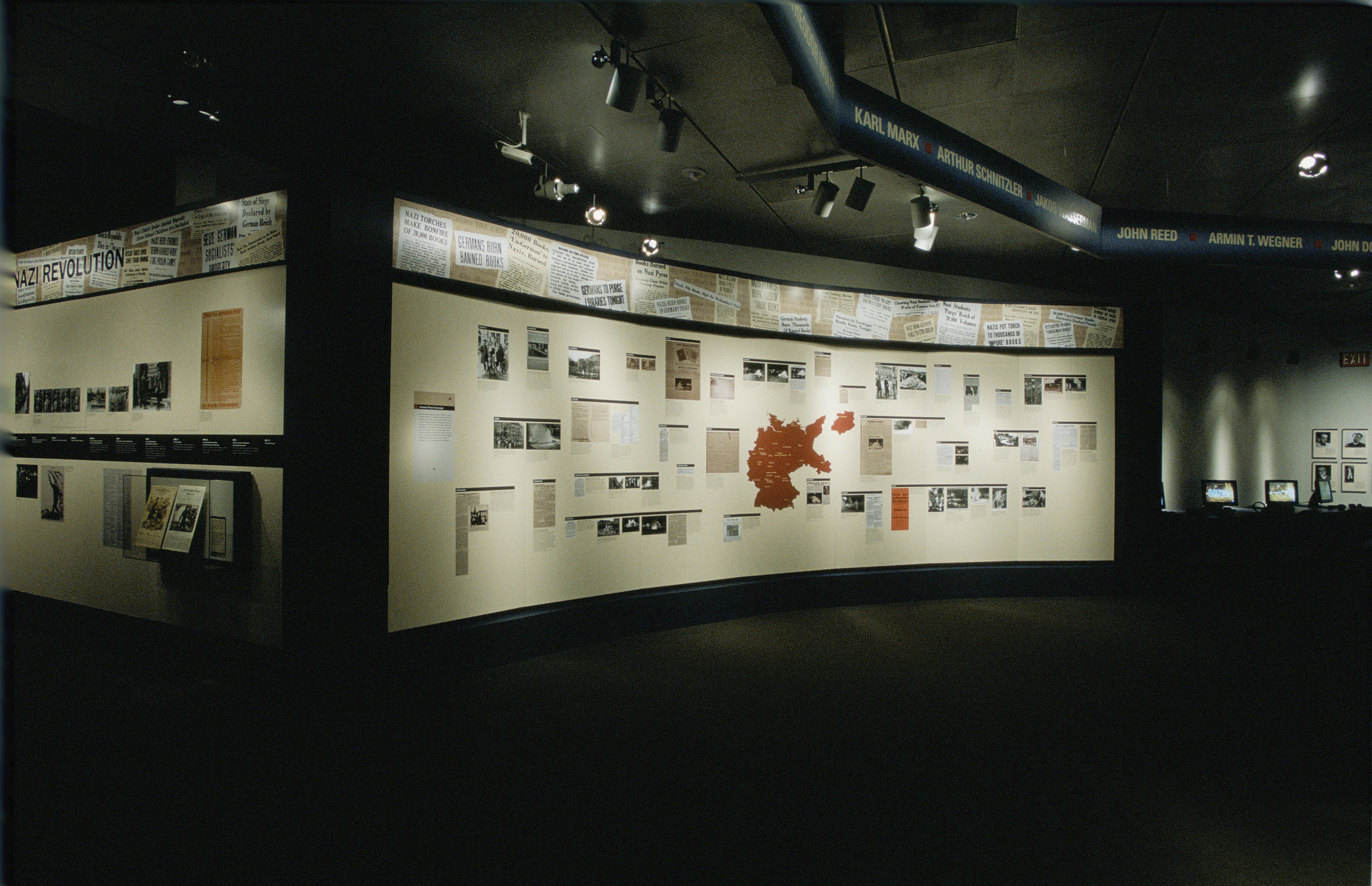 """View of the special exhibition """"Fighting the Fires of Hate: America and the Nazi Book Burnings"""" (April 29 -- October 13, 2003), U.S. Holocaust Memorial Museum."""