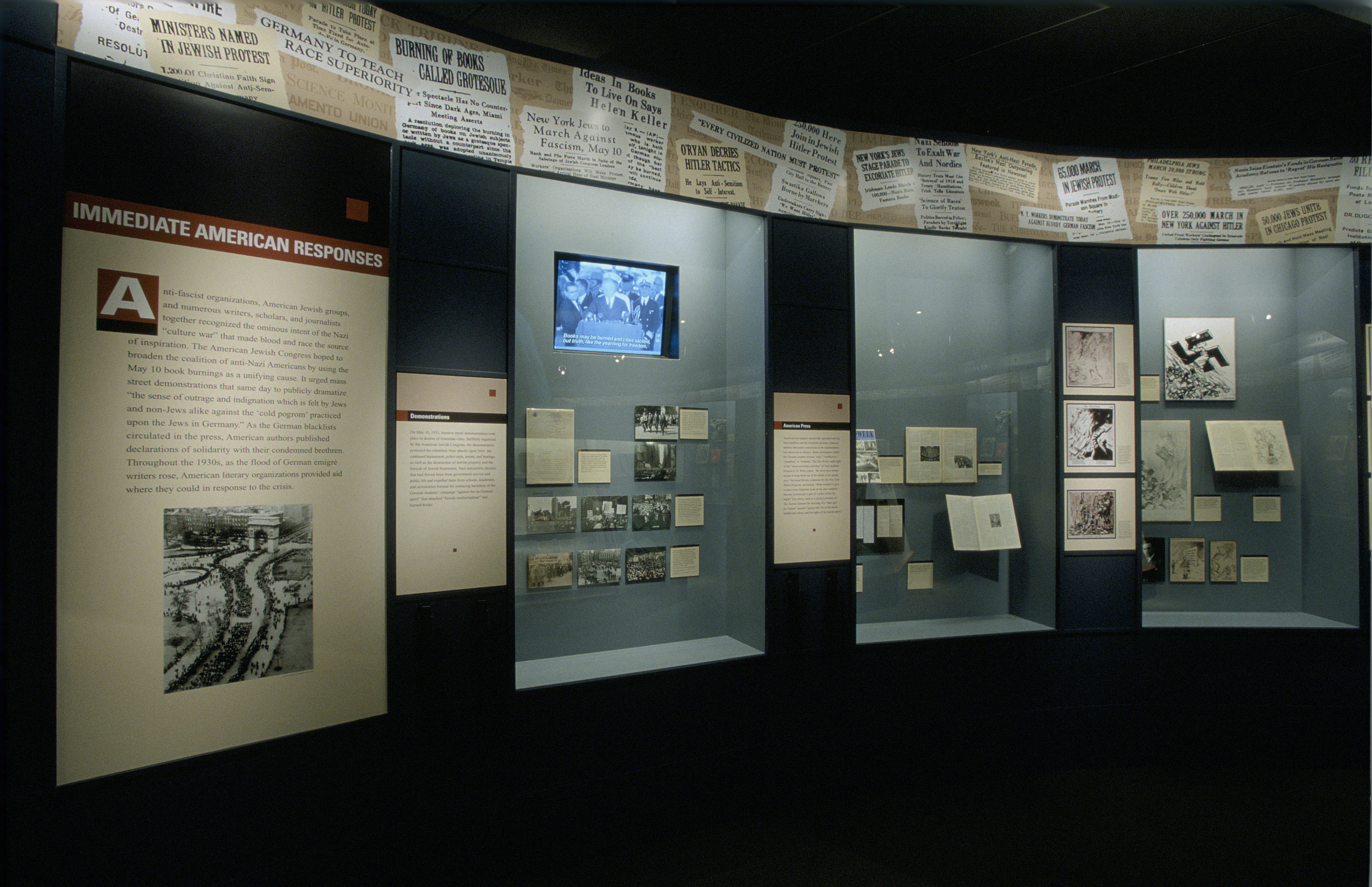 "View of the Immediate American Responses section of the special exhibition ""Fighting the Fires of Hate: America and the Nazi Book Burnings"" (April 29 -- October 13, 2003), U.S. Holocaust Memorial Museum."