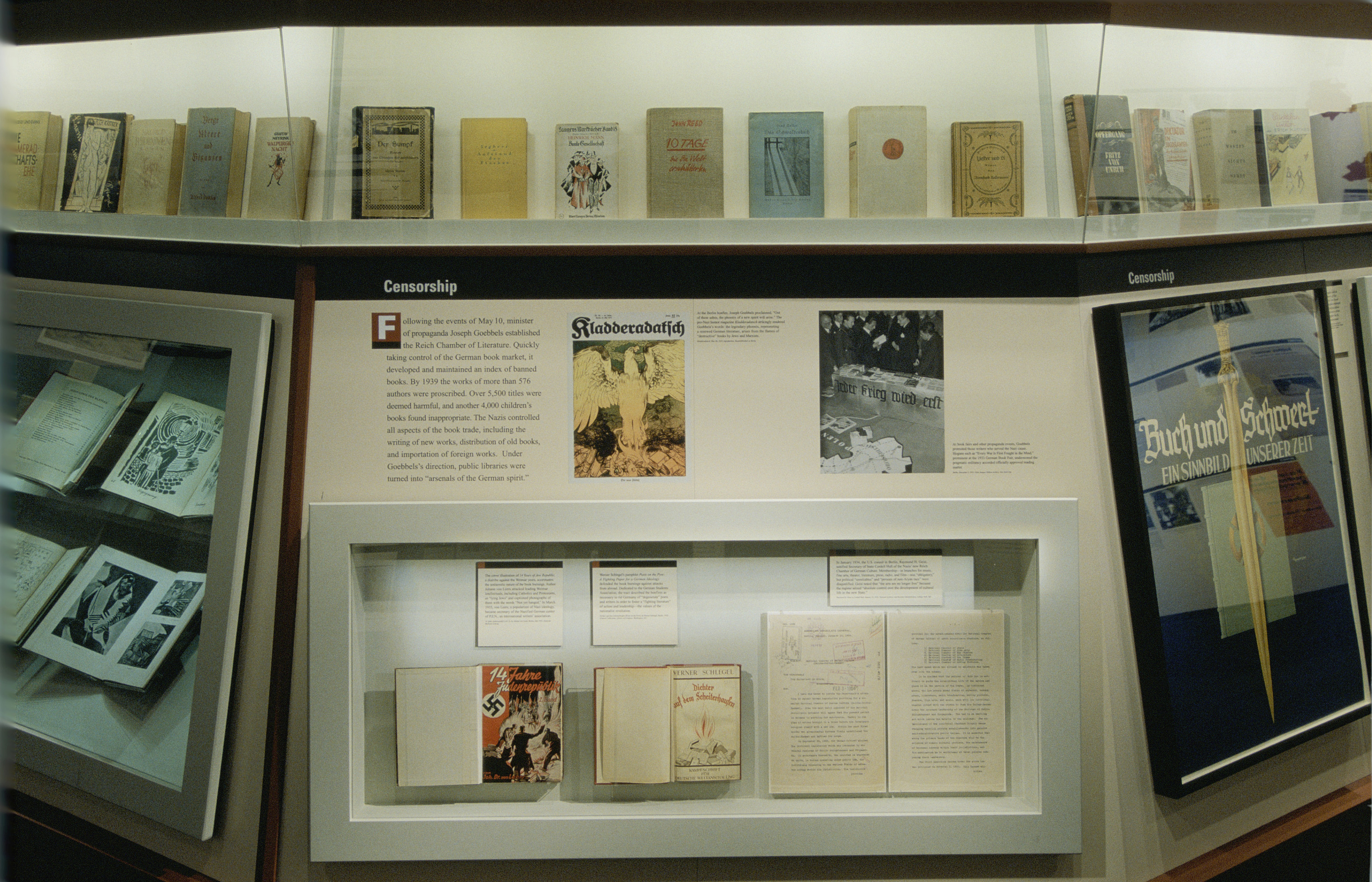 """View of a section on censorship of the special exhibition """"Fighting the Fires of Hate: America and the Nazi Book Burnings"""" (April 29 -- October 13, 2003), U.S. Holocaust Memorial Museum."""