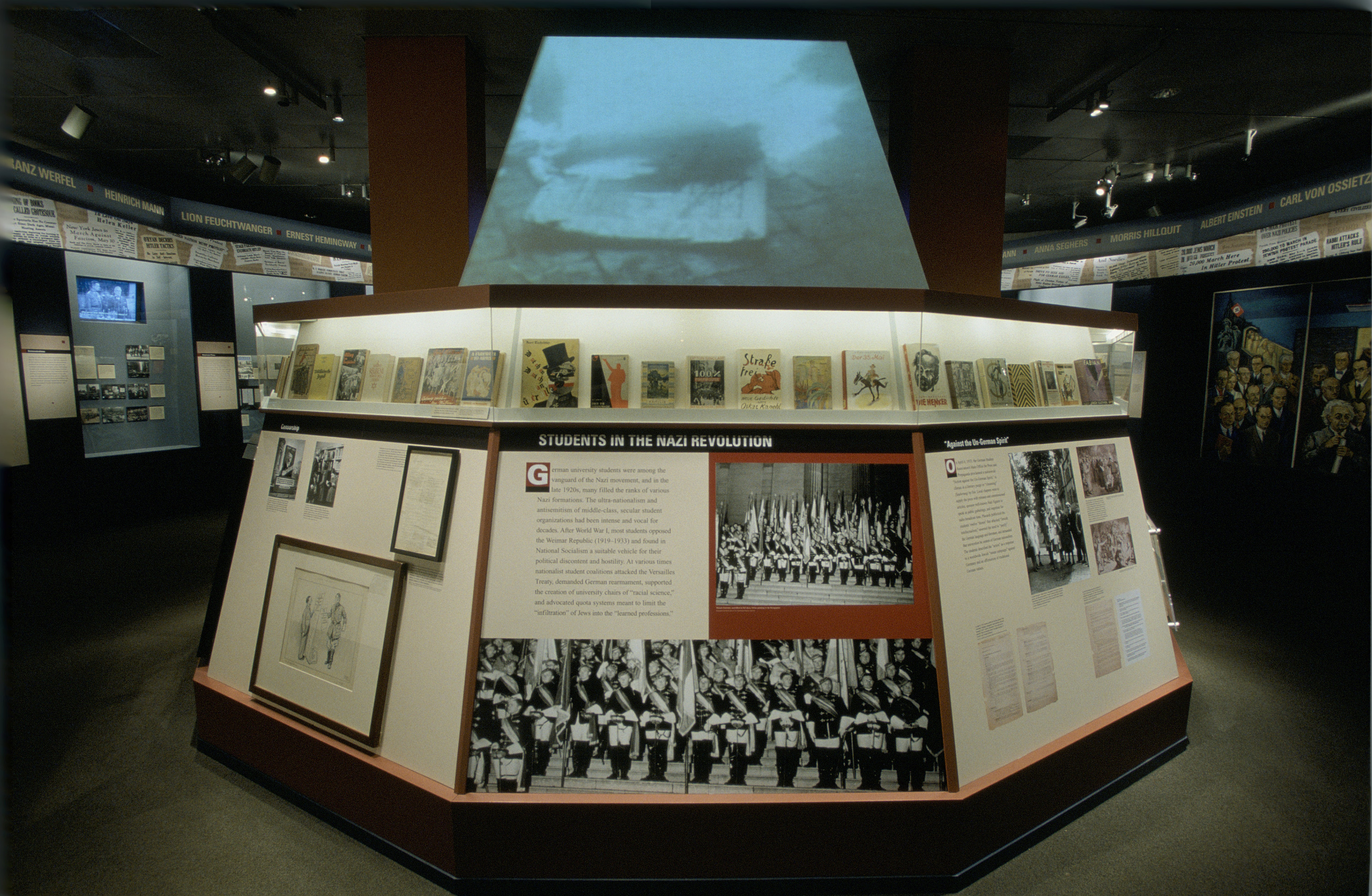 """View of the Students in the Nazi Revolution section of the special exhibition """"Fighting the Fires of Hate: America and the Nazi Book Burnings"""" (April 29 -- October 13, 2003), U.S. Holocaust Memorial Museum."""