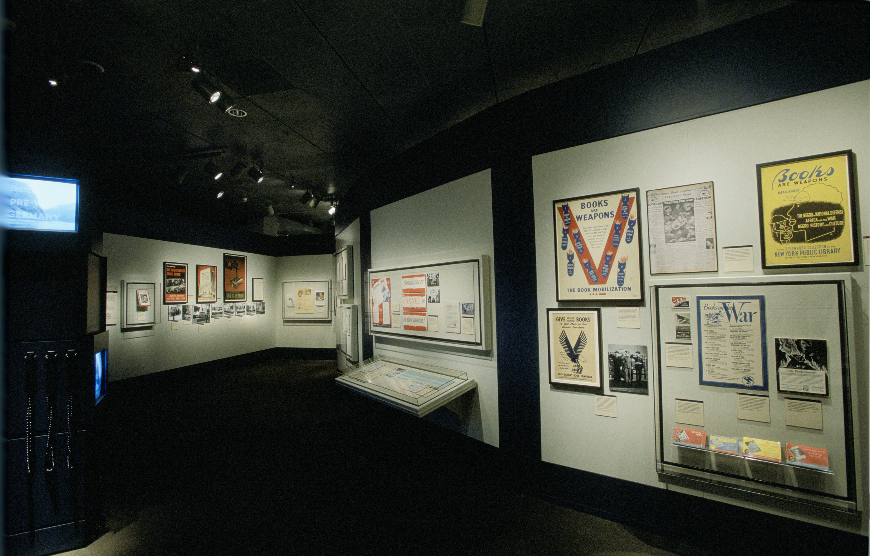 "View of the special exhibition ""Fighting the Fires of Hate: America and the Nazi Book Burnings"" (April 29 -- October 13, 2003), U.S. Holocaust Memorial Museum."