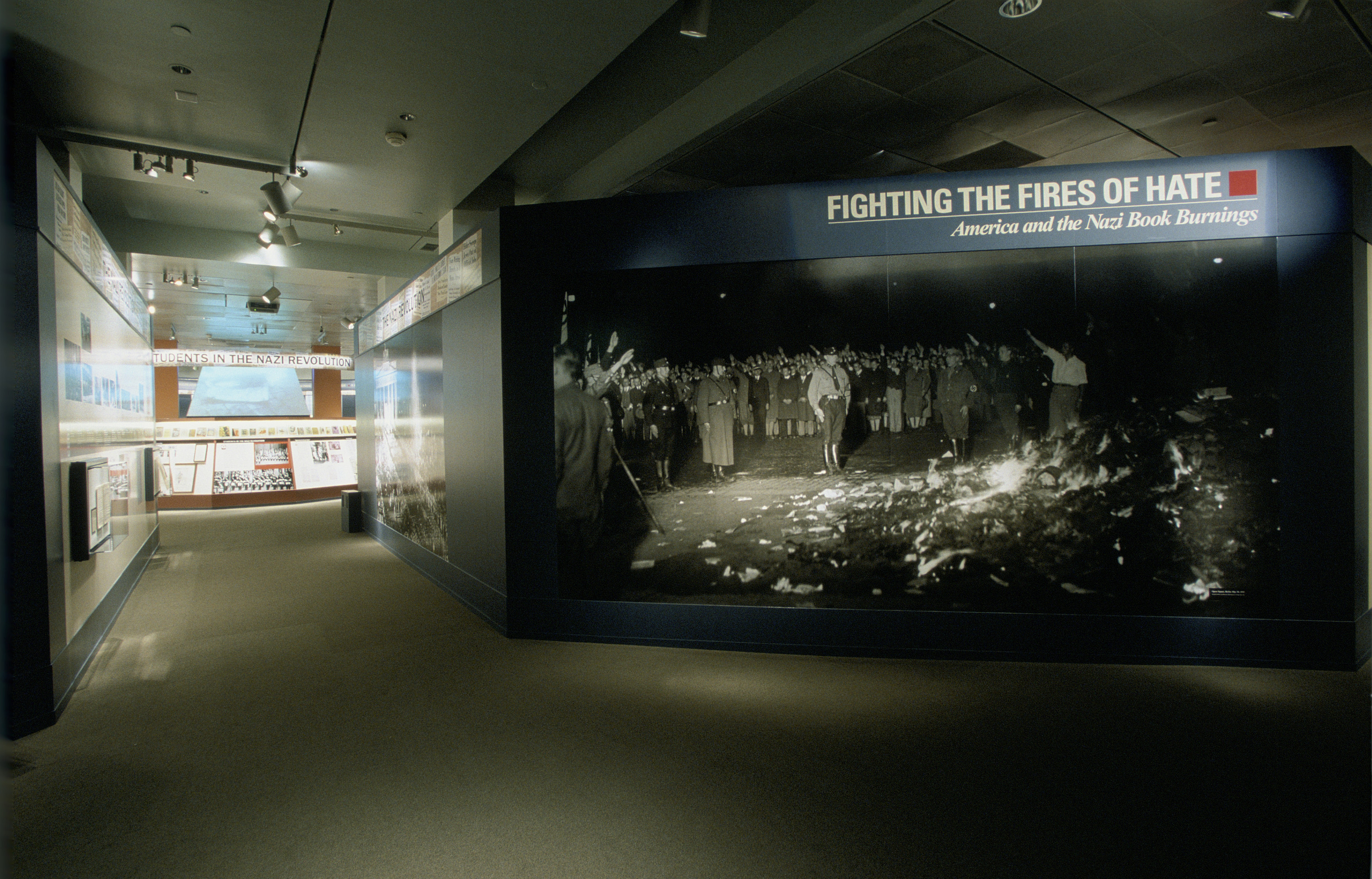 "View of the entrance of the special exhibition ""Fighting the Fires of Hate: America and the Nazi Book Burnings"" (April 29 -- October 13, 2003), U.S. Holocaust Memorial Museum."