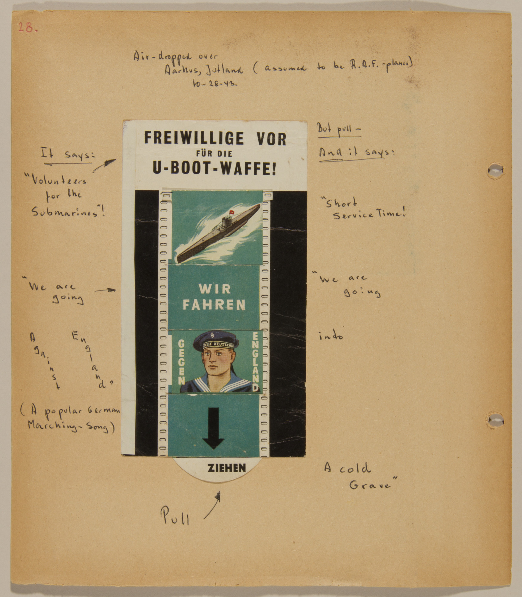 Page from volume four of a set of scrapbooks compiled by Bjorn Sibbern, a Danish policeman and resistance member, documenting the German occupation of Denmark.  This page contains an anti-German flyer air-dropped over Jutland by the RAF.
