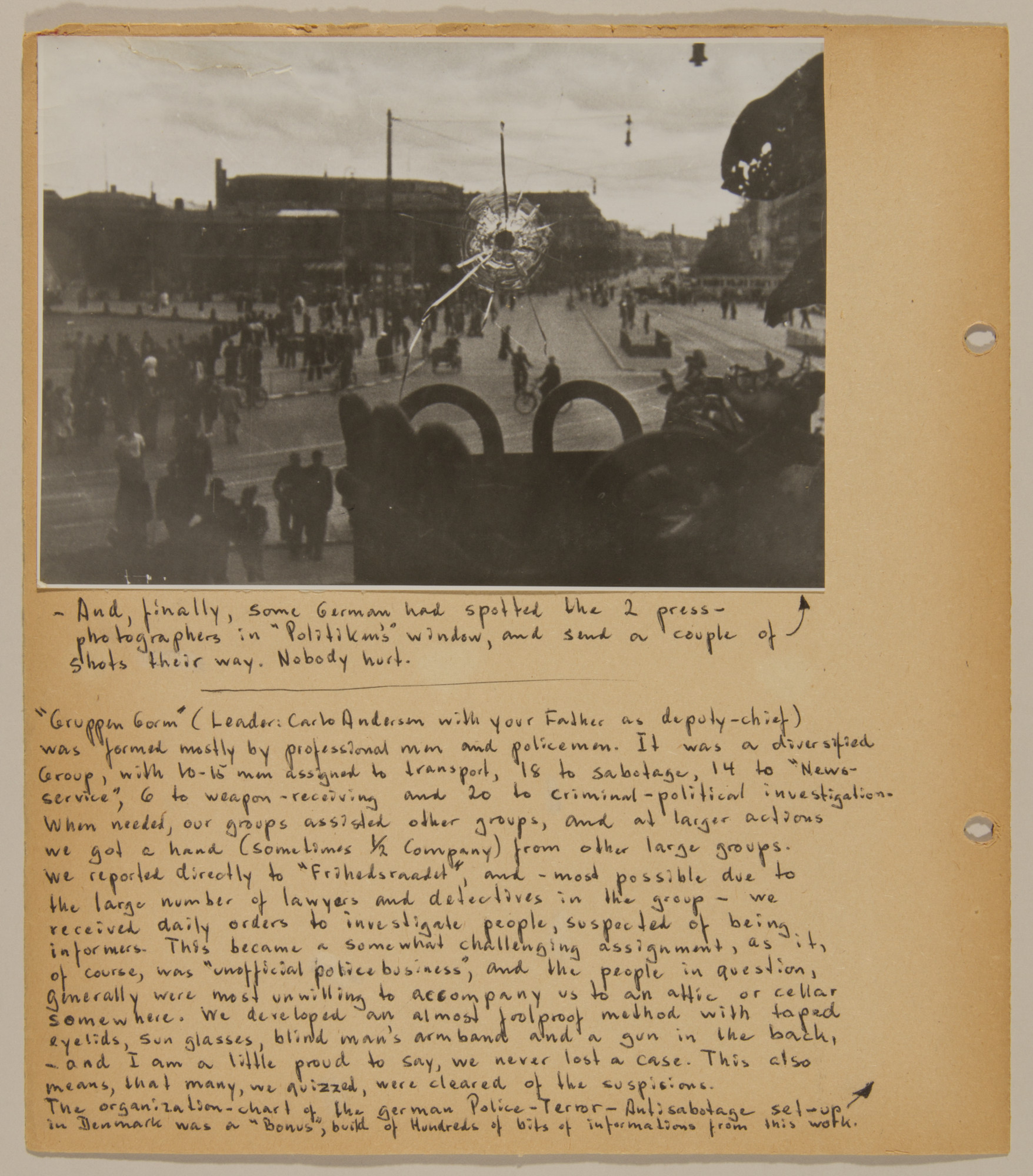 Page from volume four of a set of scrapbooks compiled by Bjorn Sibbern, a Danish policeman and resistance member, documenting the German occupation of Denmark.  This page shows a photograph of a the car of a press photographer with a bullet hole through its windshield.