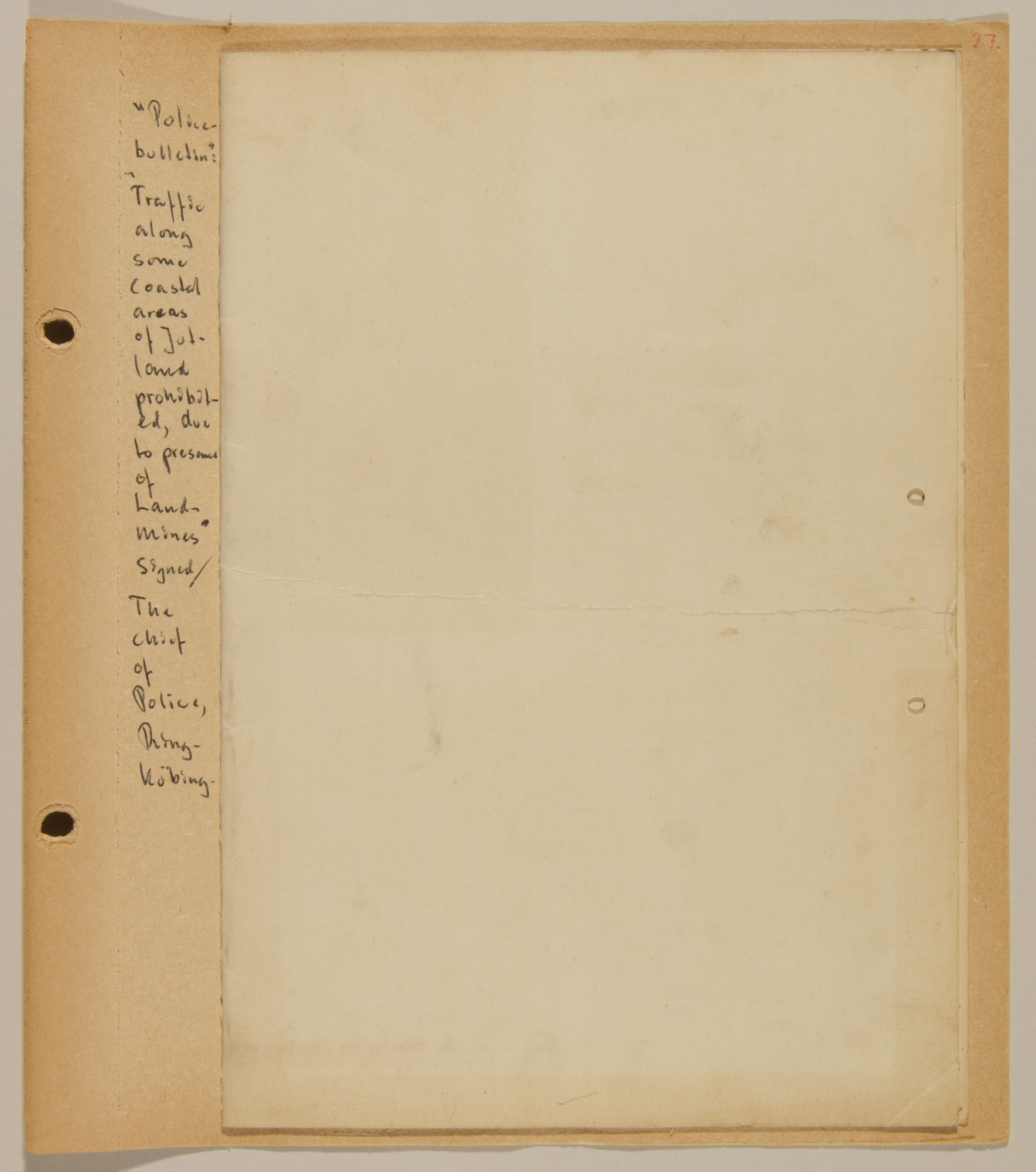Page from volume four of a set of scrapbooks compiled by Bjorn Sibbern, a Danish policeman and resistance member, documenting the German occupation of Denmark.  This page contains a police bulletin.