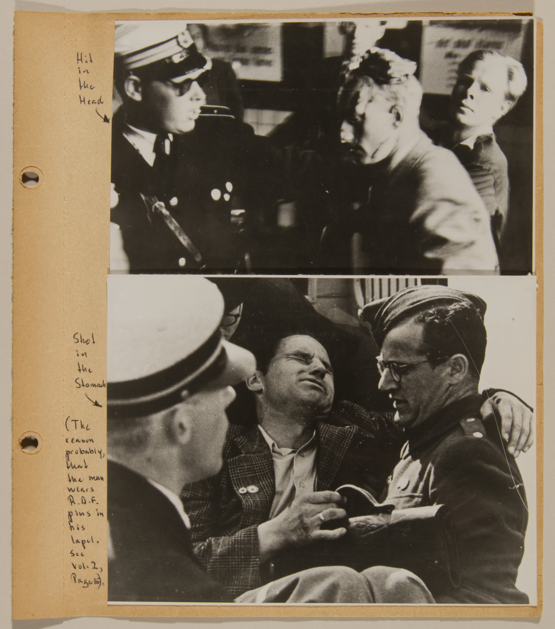 Page from volume four of a set of scrapbooks compiled by Bjorn Sibbern, a Danish policeman and resistance member, documenting the German occupation of Denmark.  The page contains photographs from a series showing German and Danish SS raids on civilians.  The man in the bottom photo was probably shot because he is wearing an RAF pin on his lapel.