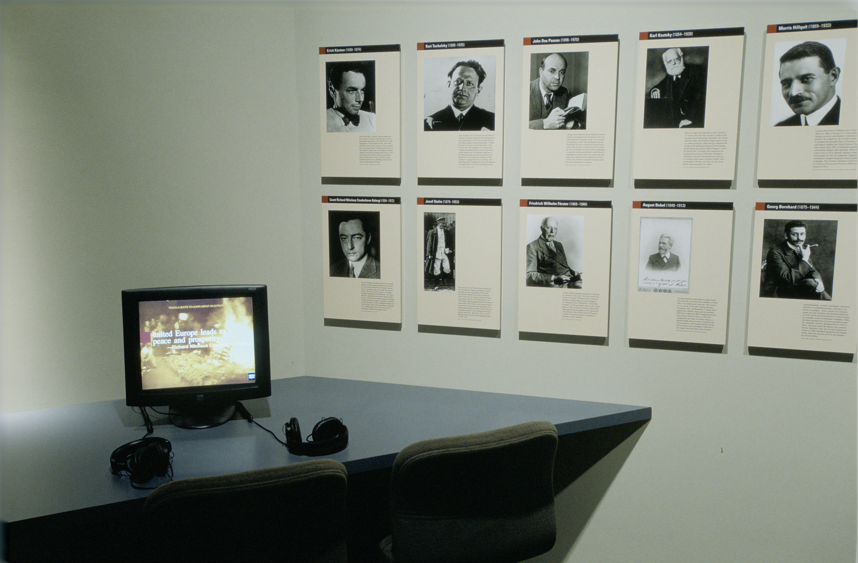 "View of the Authors and Their Books section in the special exhibition ""Fighting the Fires of Hate: America and the Nazi Book Burnings"" (April 29 -- October 13, 2003), U.S. Holocaust Memorial Museum."