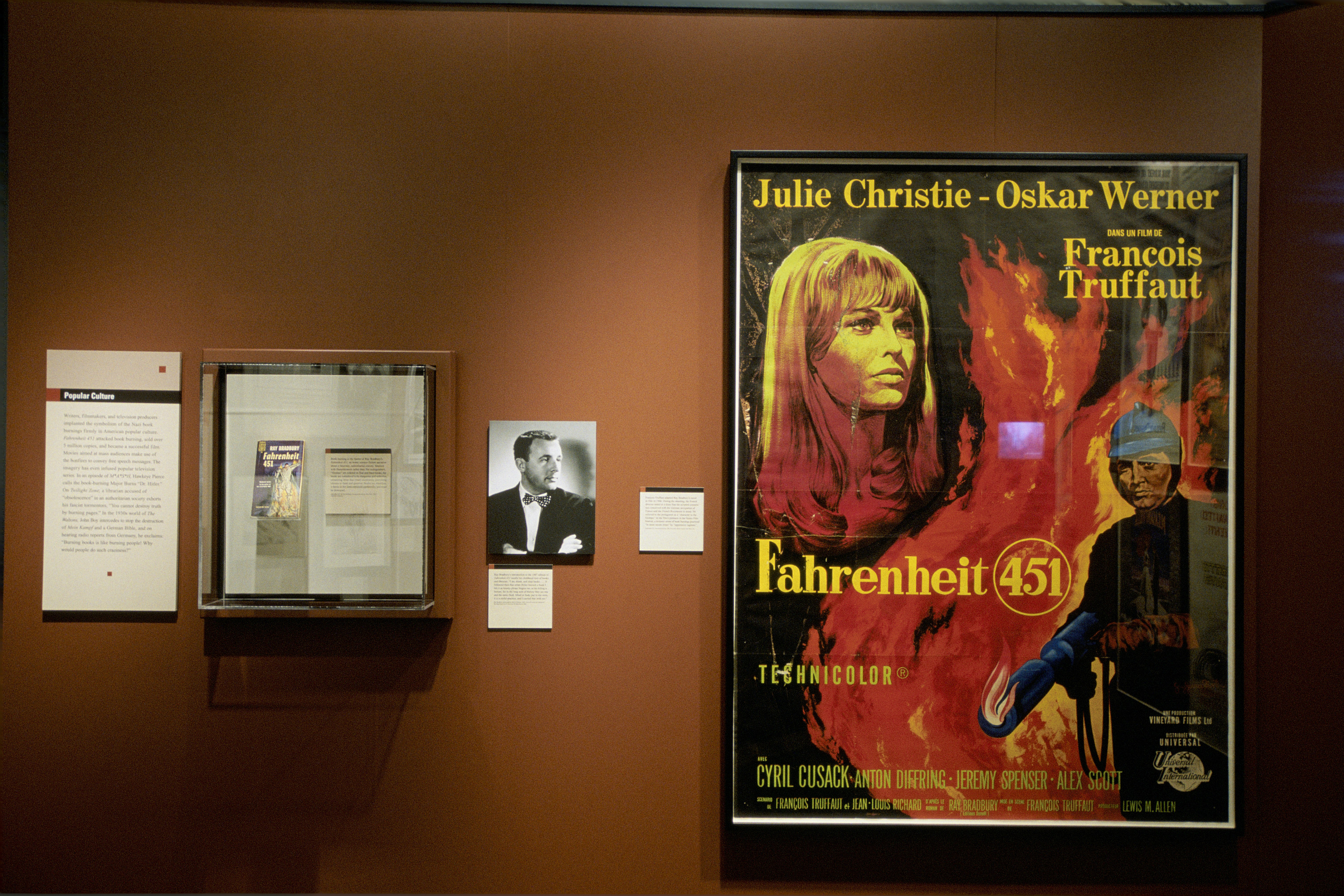 "View of one section of the special exhibition ""Fighting the Fires of Hate: America and the Nazi Book Burnings"" (April 29 -- October 13, 2003), U.S. Holocaust Memorial Museum."