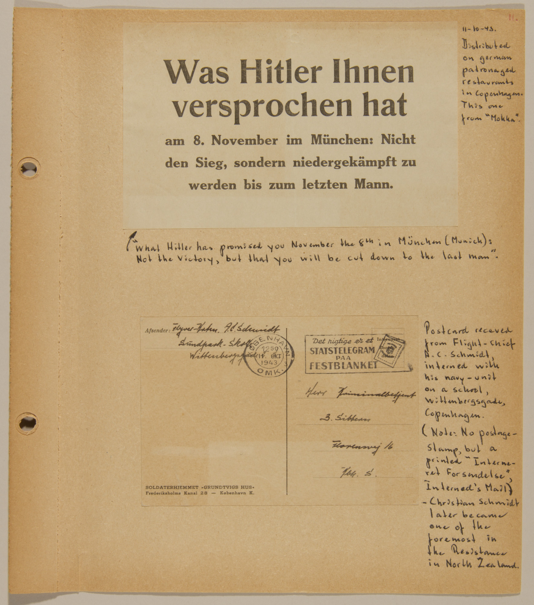 Page from volume four of a set of scrapbooks compiled by Bjorn Sibbern, a Danish policeman and resistance member, documenting the German occupation of Denmark.  This page contains an anti-German broadside and a postcard from an internment camp sent by a member of the Danish navy.