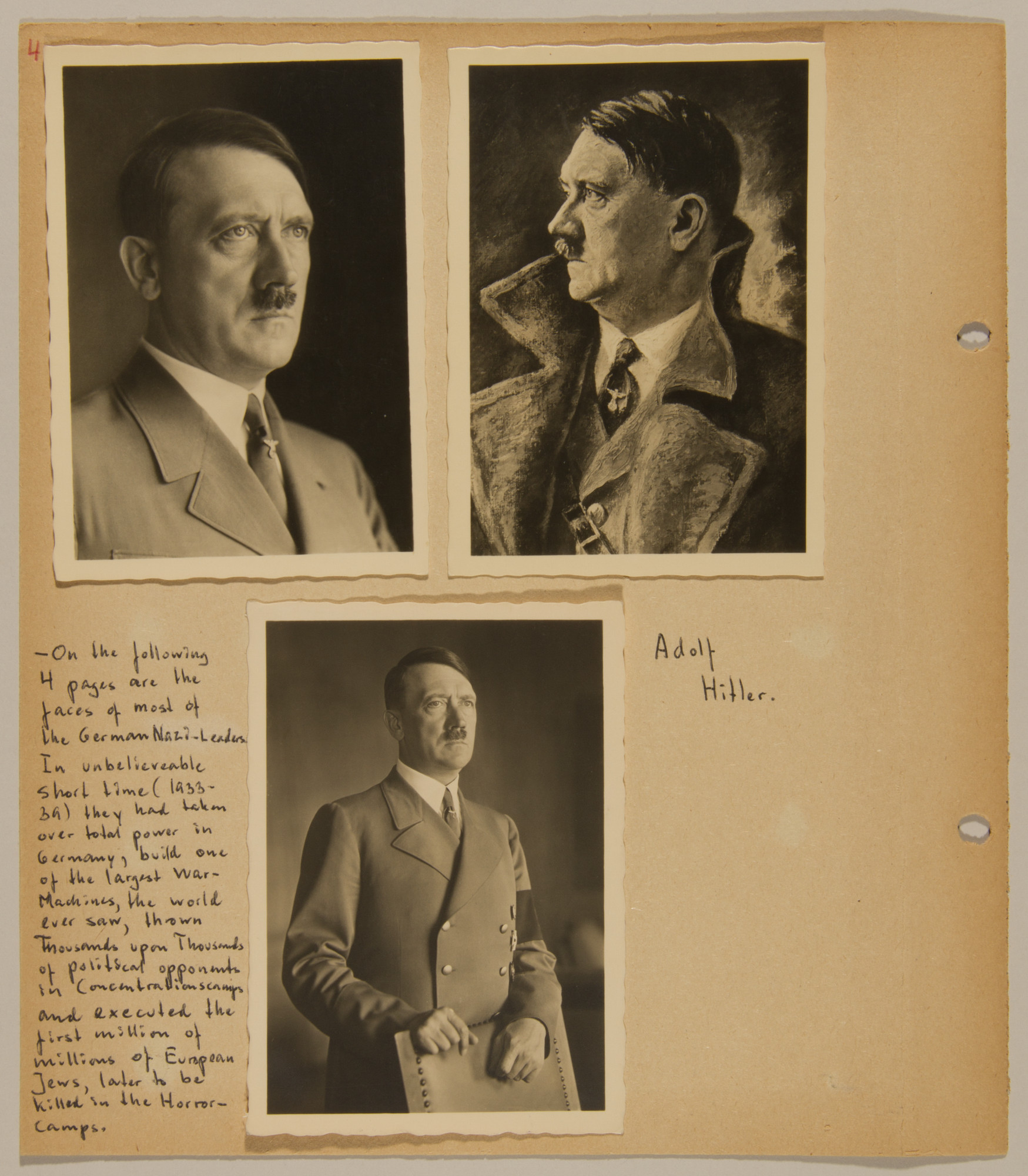 Page from volume four of a set of scrapbooks compiled by Bjorn Sibbern, a Danish policeman and resistance member, documenting the German occupation of Denmark.  This page contains three photographs of Hitler.