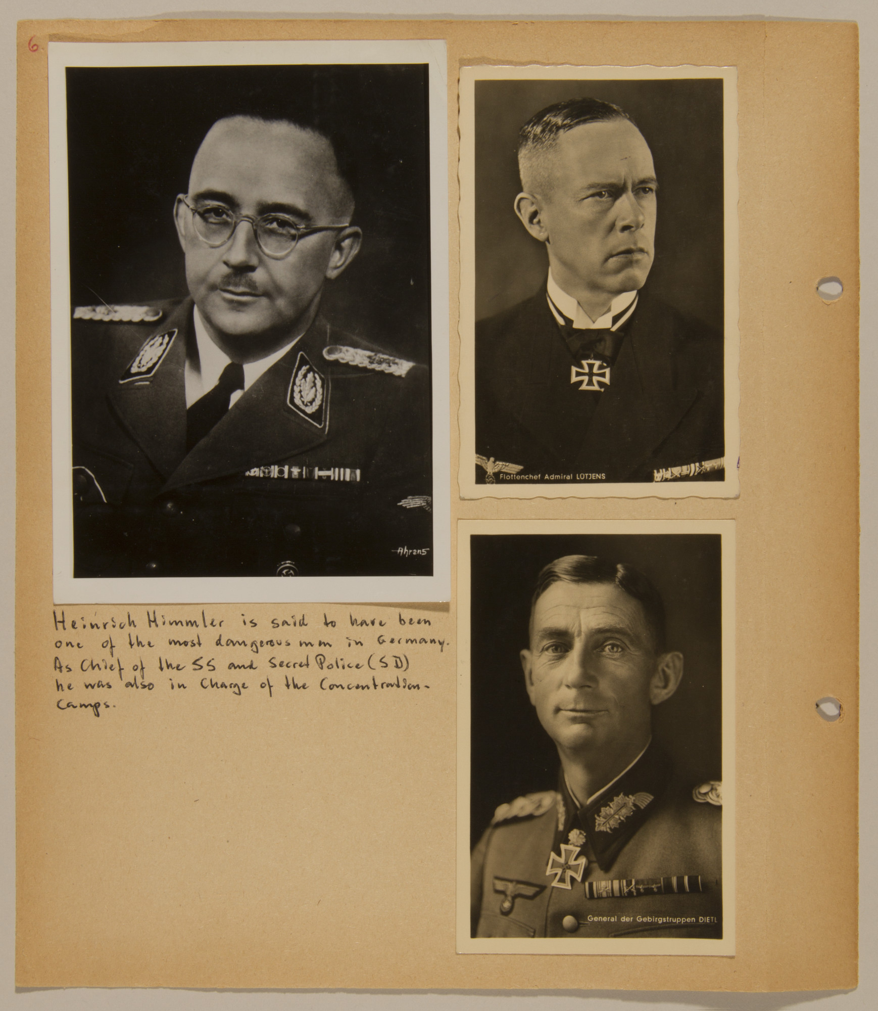 Page from volume four of a set of scrapbooks compiled by Bjorn Sibbern, a Danish policeman and resistance member, documenting the German occupation of Denmark.  This page contains photographs of Himmler, Lotjens and Dietl.