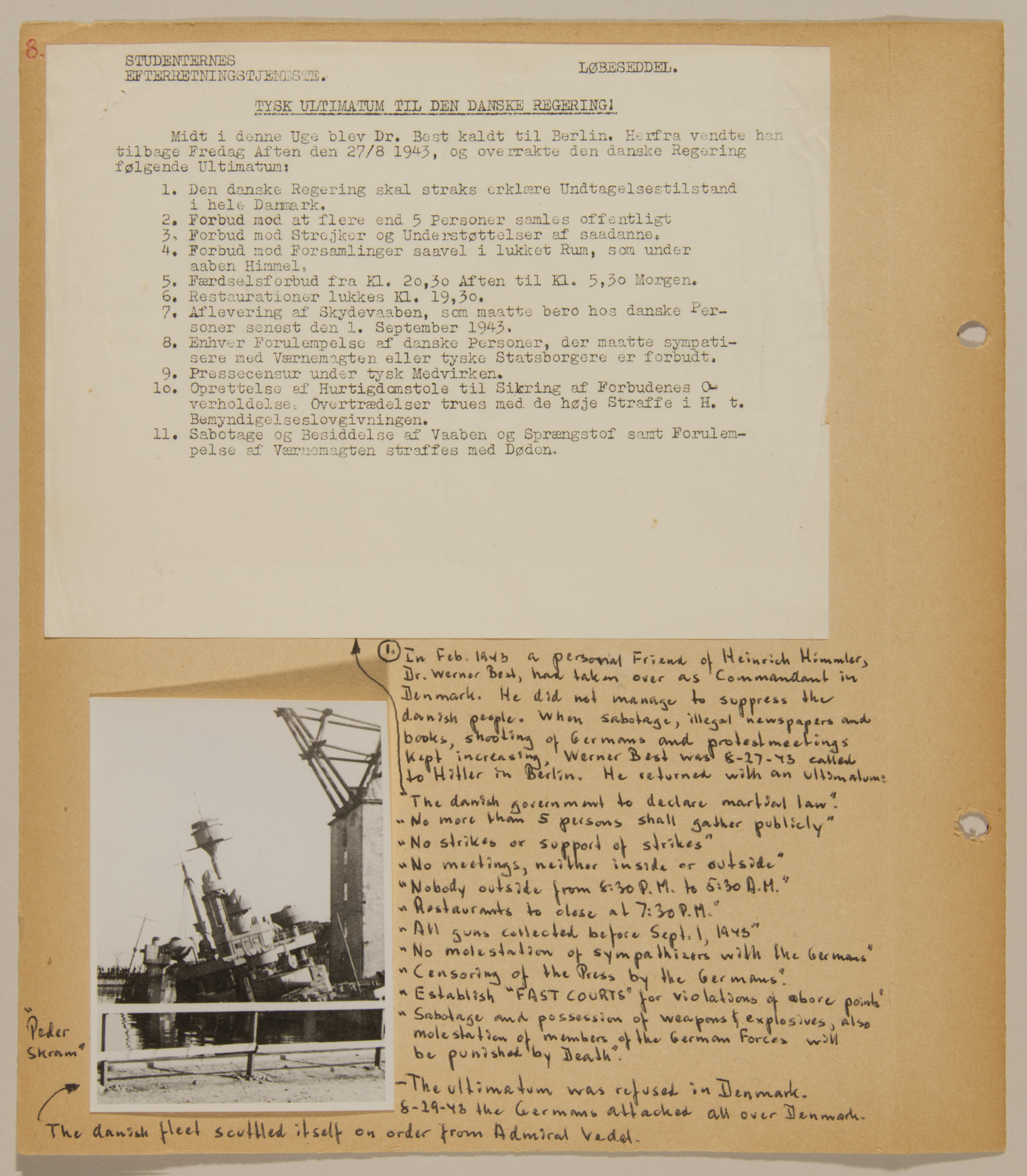 Page from volume four of a set of scrapbooks compiled by Bjorn Sibbern, a Danish policeman and resistance member, documenting the German occupation of Denmark.  This page contains the ultimatum Berlin gave Werner Best in February 1943 to suppress the underground and sabotage movement.