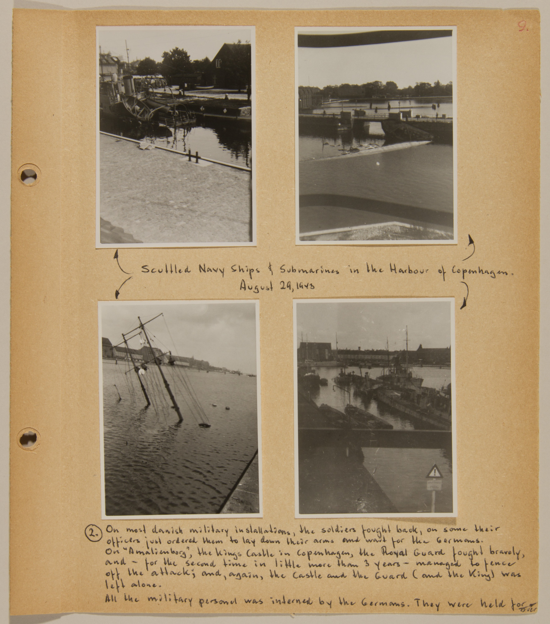 Page from volume four of a set of scrapbooks compiled by Bjorn Sibbern, a Danish policeman and resistance member, documenting the German occupation of Denmark.  This page contains photographs of the resistance by the Danish army after it was ordered to lay down its arms and the imposition of martial law.