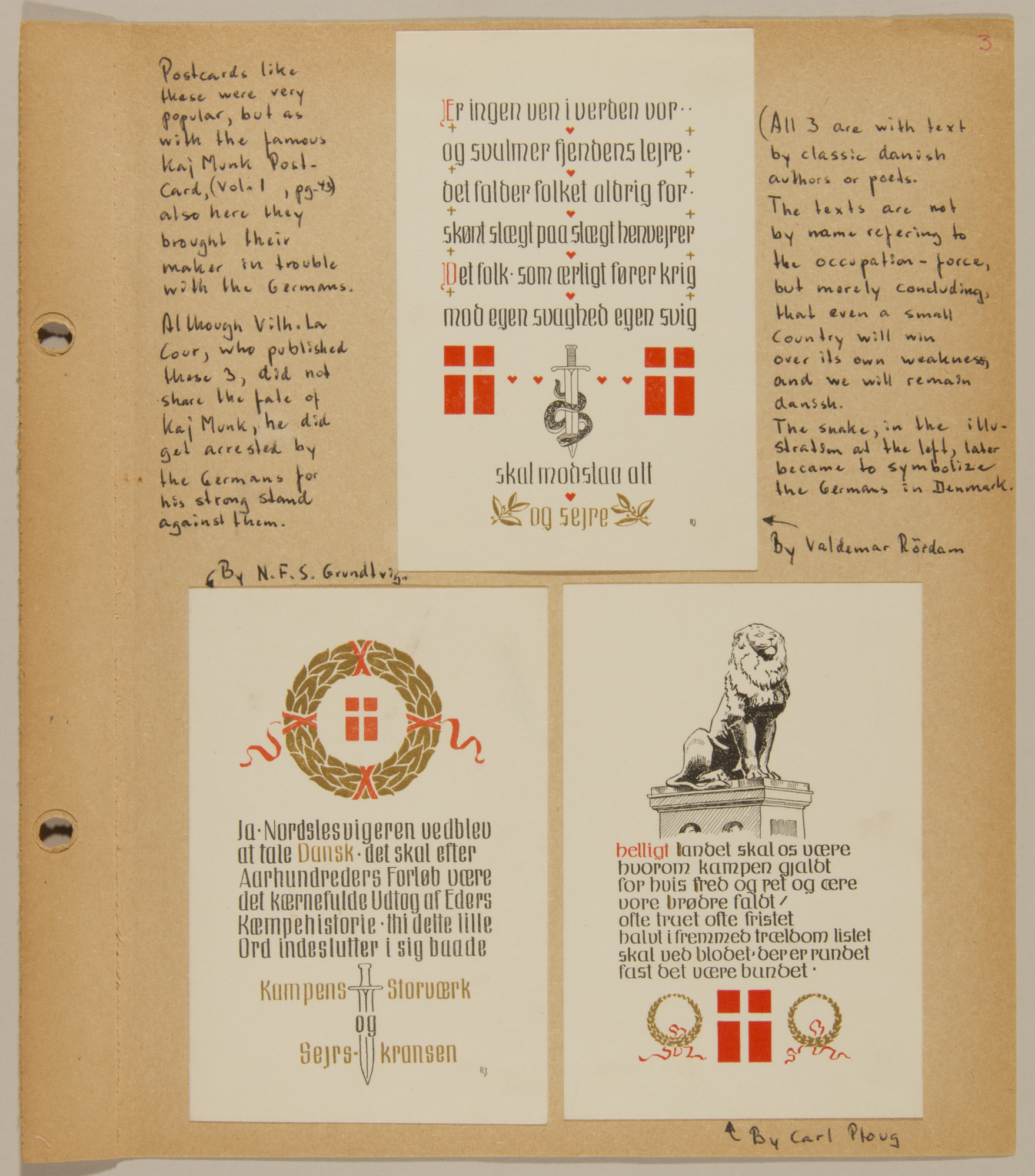 Page from volume four of a set of scrapbooks compiled by Bjorn Sibbern, a Danish policeman and resistance member, documenting the German occupation of Denmark.  Three nationalist and subtly anti-German postcards that were widely distributed in Denmark,