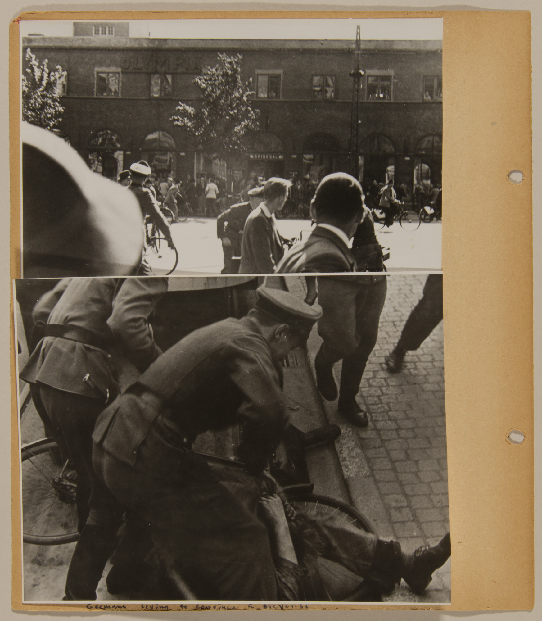 Page from volume four of a set of scrapbooks compiled by Bjorn Sibbern, a Danish policeman and resistance member, documenting the German occupation of Denmark.  The page contains photographs from a series showing German and Danish SS raids on civilians.