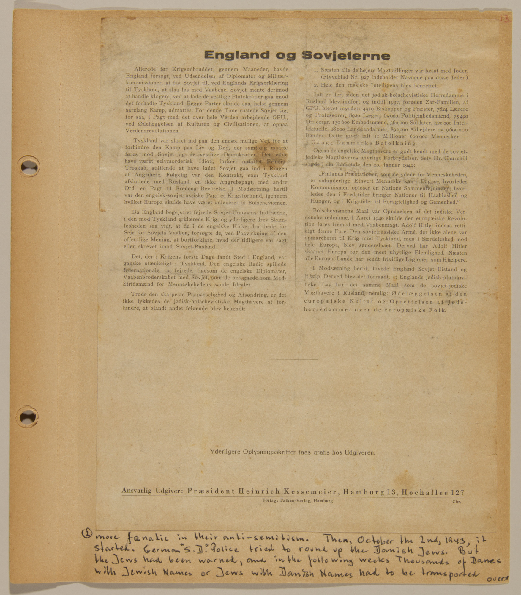 Page from volume four of a set of scrapbooks compiled by Bjorn Sibbern, a Danish policeman and resistance member, documenting the German occupation of Denmark.  This page contains a widely distributed handbilll preparing the Danish people for raids against the Jews by linking them to Soviet Bolshevism.