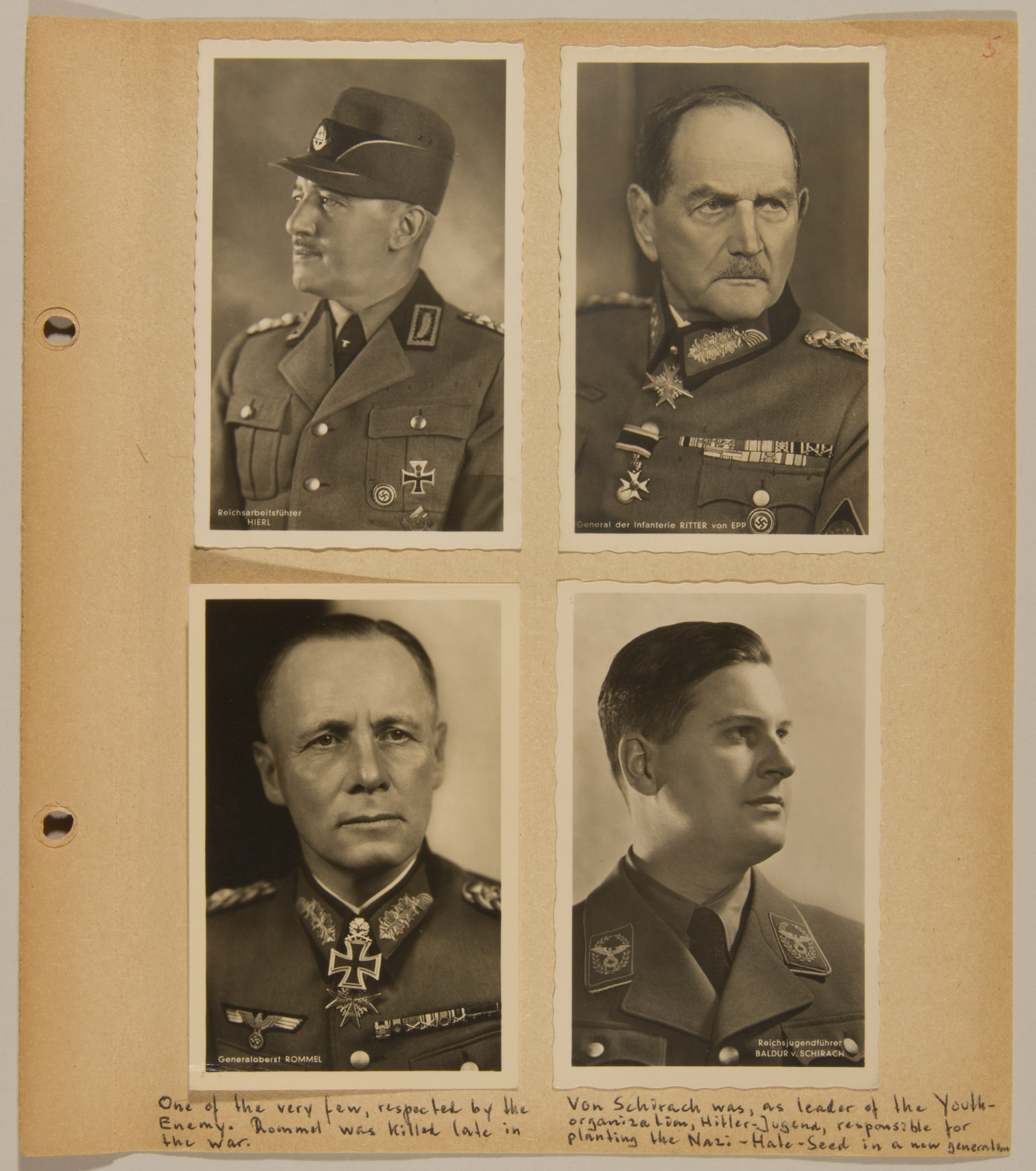 Page from volume four of a set of scrapbooks compiled by Bjorn Sibbern, a Danish policeman and resistance member, documenting the German occupation of Denmark.  This page contains photographs of Rommel, von Schirach, Hierl and von Epp.