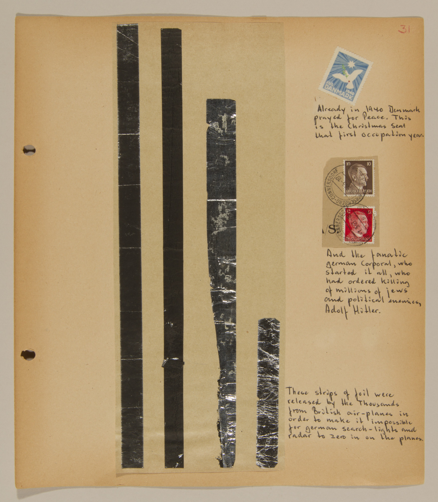 Page from volume one of a set of scrapbooks compiled by Bjorn Sibbern, a Danish policeman and resistance member, documenting the German occupation of Denmark.  This page has strips of foil that the British released to impede German radar,