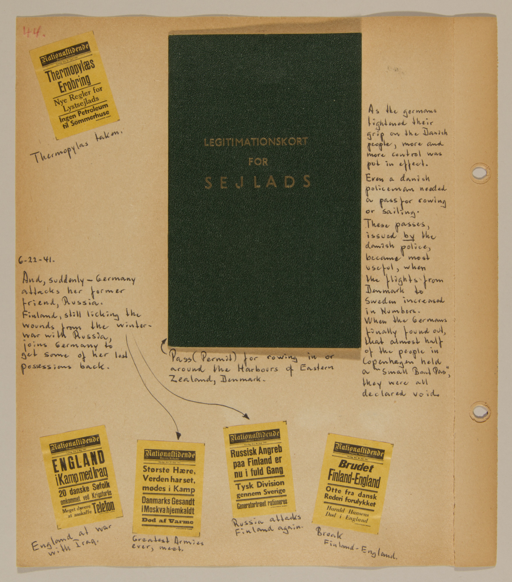 Page from volume one of a set of scrapbooks compiled by Bjorn Sibbern, a Danish policeman and resistance member, documenting the German occupation of Denmark.  The page has newspaper headlines about the invasion of the Soviet Union.