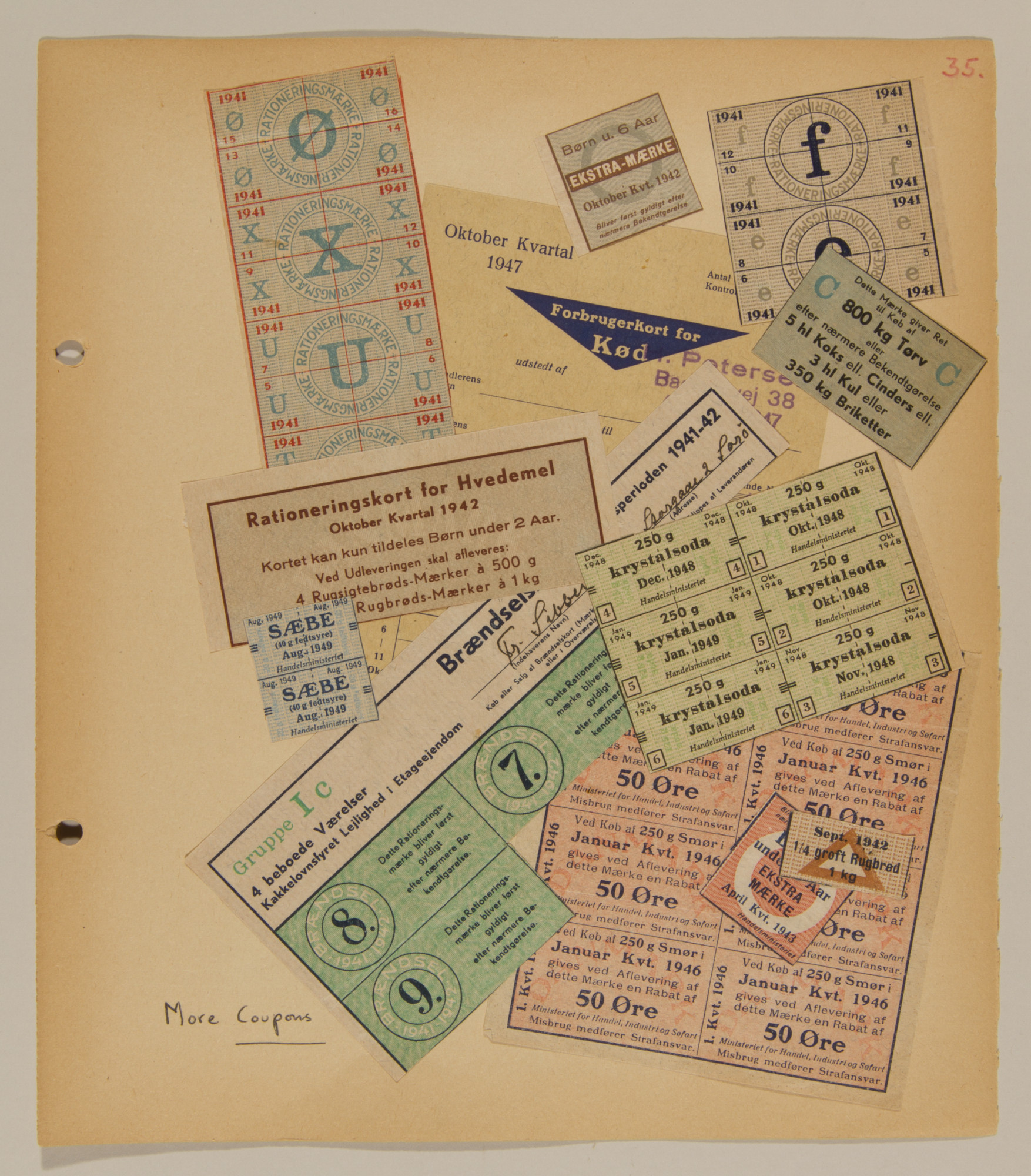 Page from volume one of a set of scrapbooks compiled by Bjorn Sibbern, a Danish policeman and resistance member, documenting the German occupation of Denmark.  This page includes ration coupons.