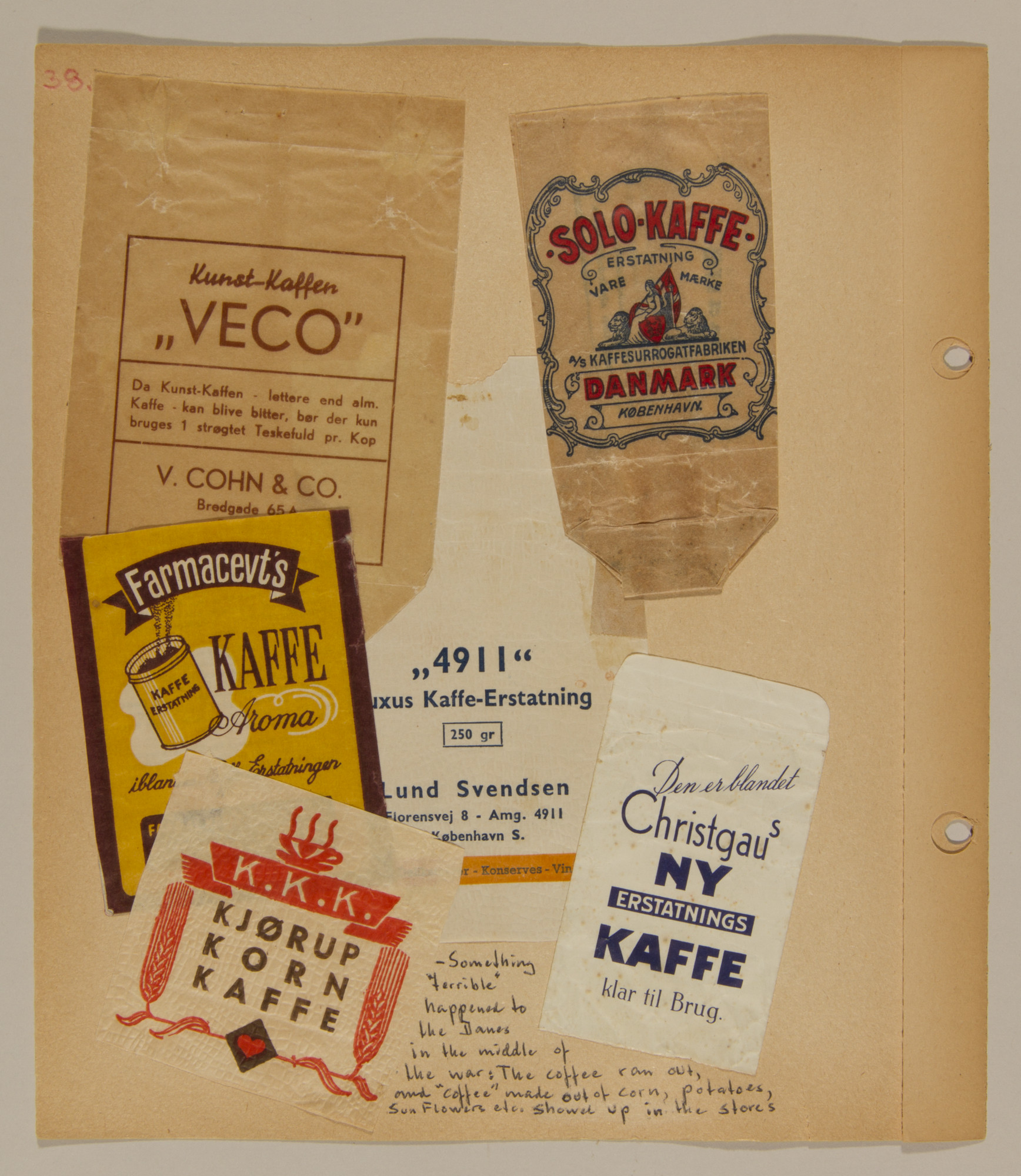 Page from volume one of a set of scrapbooks compiled by Bjorn Sibbern, a Danish policeman and resistance member, documenting the German occupation of Denmark.  Page contains labels to coffee packages.