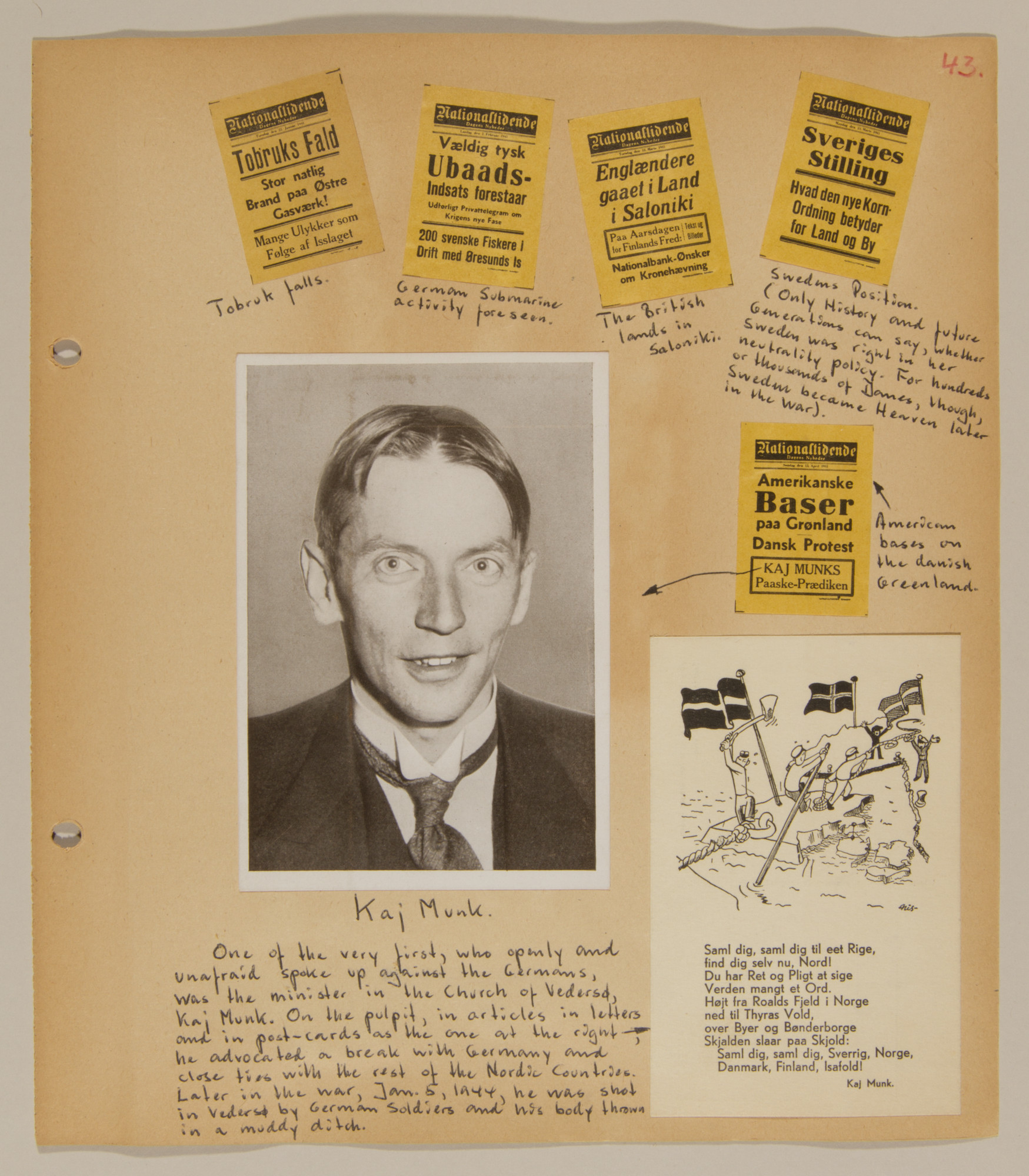 Page from volume one of a set of scrapbooks compiled by Bjorn Sibbern, a Danish policeman and resistance member, documenting the German occupation of Denmark.  The page has a photograph of Kaj Munk, an anti-Nazi leader.