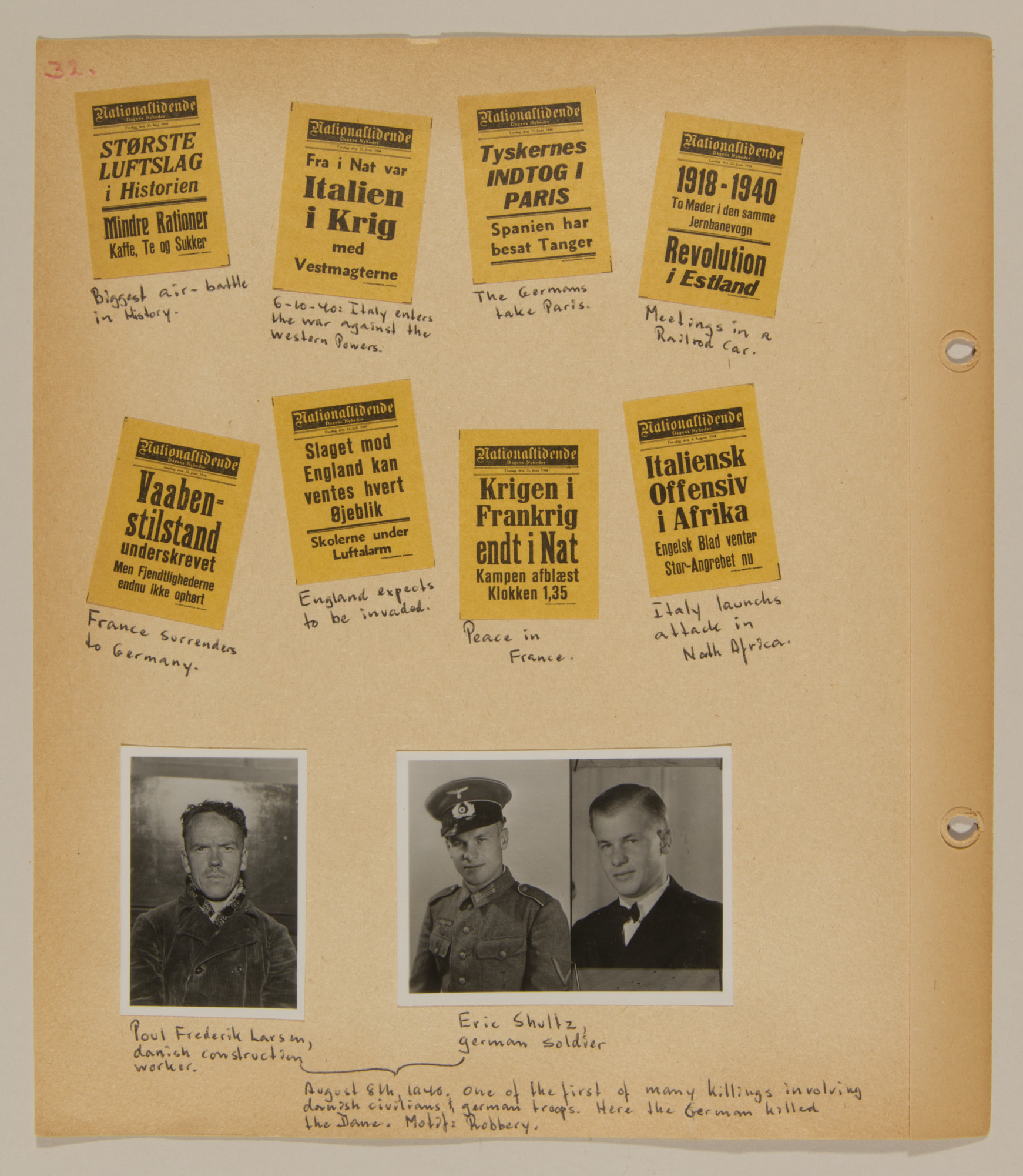 Page from volume one of a set of scrapbooks compiled by Bjorn Sibbern, a Danish policeman and resistance member, documenting the German occupation of Denmark.  This page has a photograph of one of the first Danes killed by the Germans.