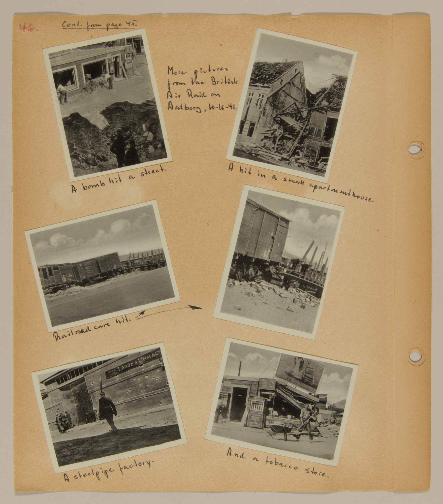 Page from volume one of a set of scrapbooks compiled by Bjorn Sibbern, a Danish policeman and resistance member, documenting the German occupation of Denmark.  The page documents the British air-attack in Aalborg.