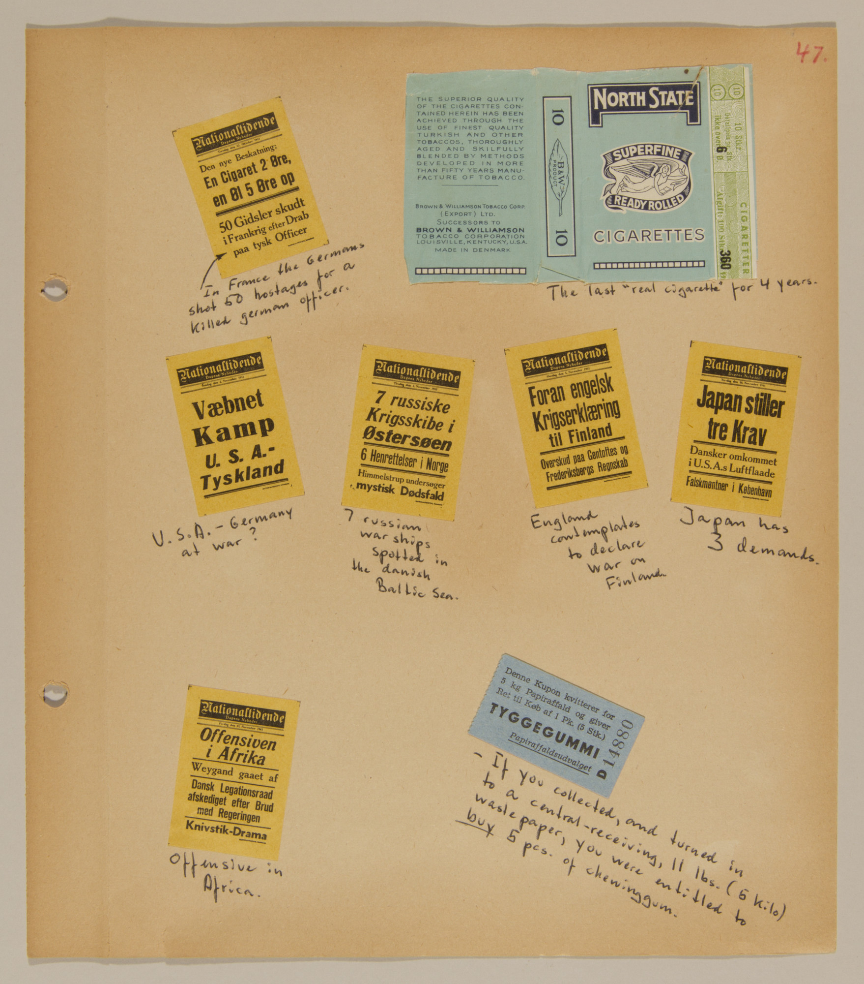 Page from volume one of a set of scrapbooks compiled by Bjorn Sibbern, a Danish policeman and resistance member, documenting the German occupation of Denmark.  The page has newspaper headlines from the late summer or autumn of 1941.