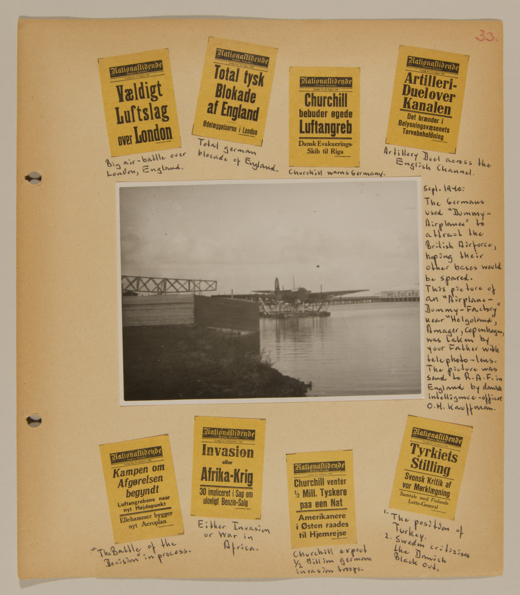 Page from volume one of a set of scrapbooks compiled by Bjorn Sibbern, a Danish policeman and resistance member, documenting the German occupation of Denmark.  This page has stamps of news headlines from September 1940.