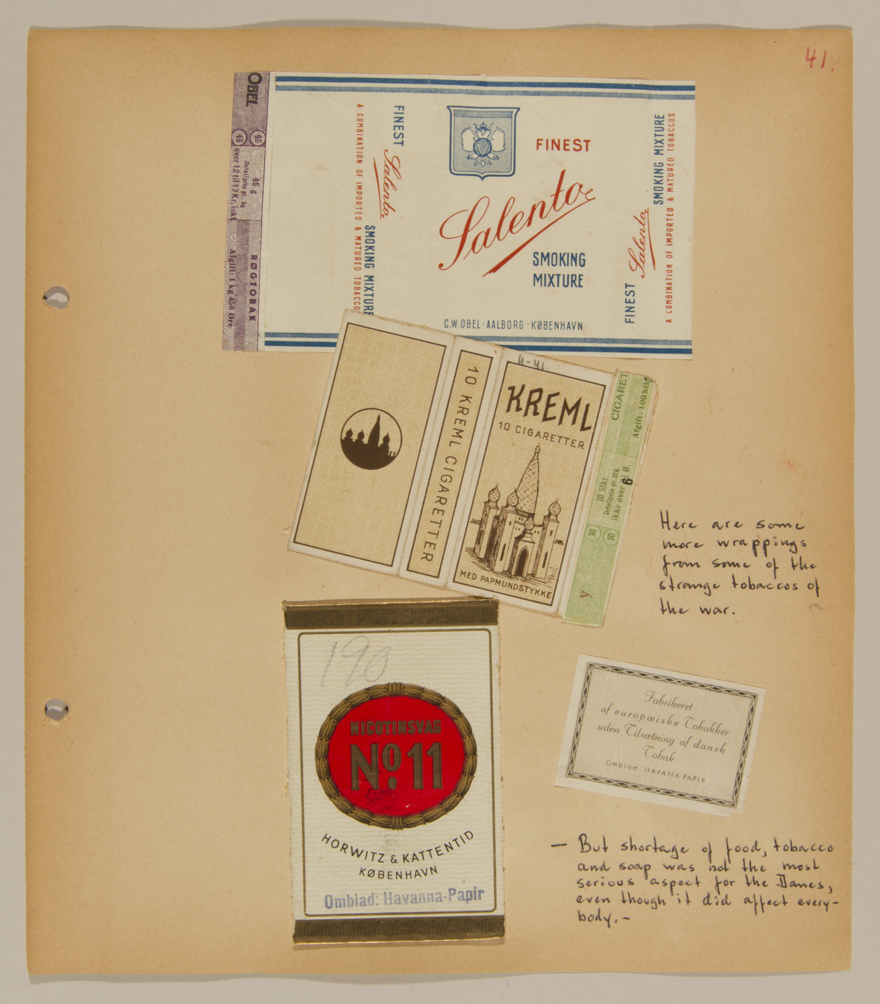 Page from volume one of a set of scrapbooks compiled by Bjorn Sibbern, a Danish policeman and resistance member, documenting the German occupation of Denmark.  Page contains labels to cigarette packages.