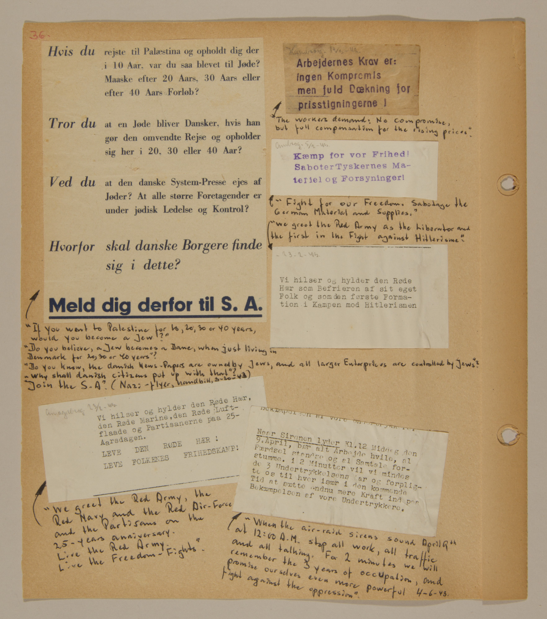 Page from volume two of a set of scrapbooks compiled by Bjorn Sibbern, a Danish policeman and resistance member, documenting the German occupation of Denmark.  This page contains both antisemitic and anti-Nazi flyers.