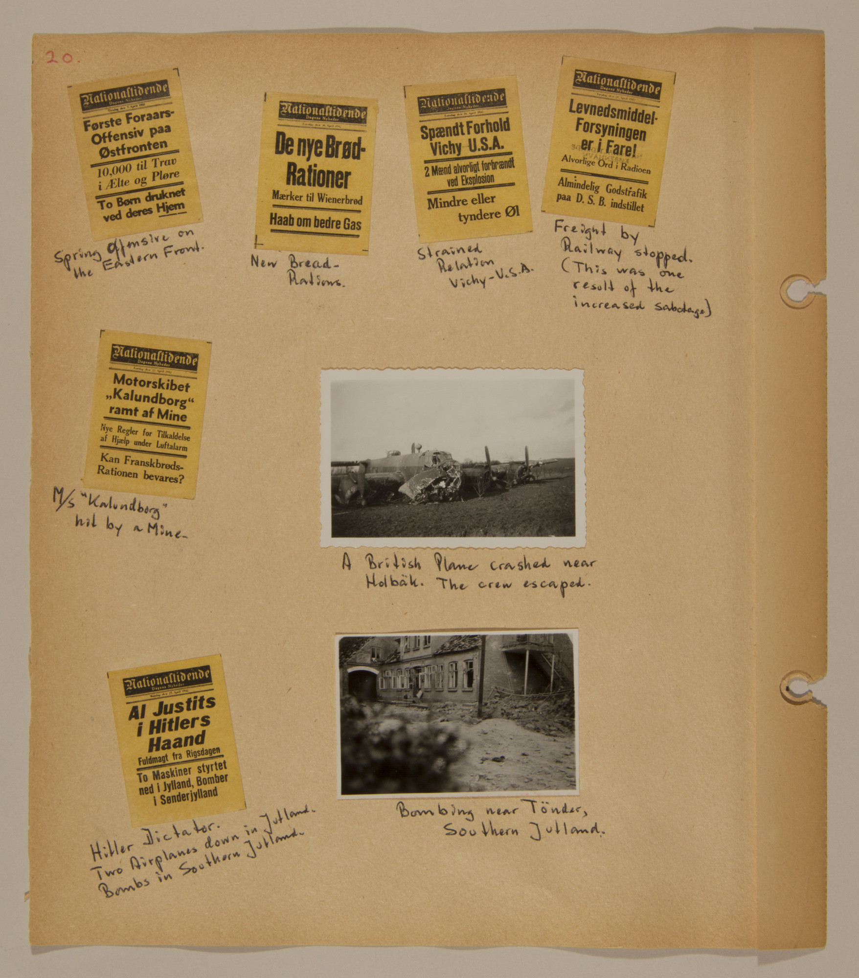 Page from volume two of a set of scrapbooks compiled by Bjorn Sibbern, a Danish policeman and resistance member, documenting the German occupation of Denmark.  This page contains more newspaper headlines from 1942.