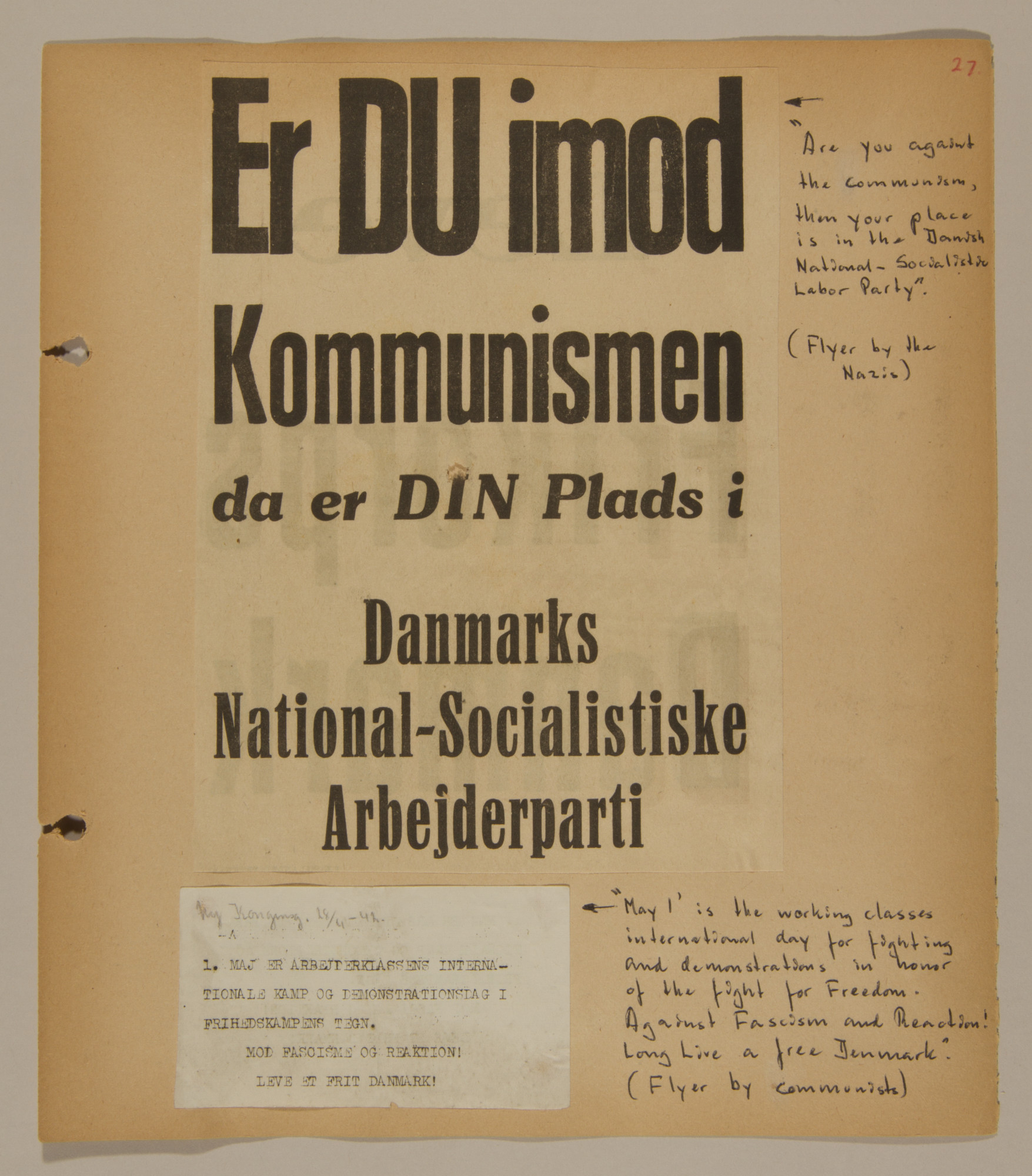 Page from volume two of a set of scrapbooks compiled by Bjorn Sibbern, a Danish policeman and resistance member, documenting the German occupation of Denmark.  This page has of a poster of the Danish Nazis and a smaller flyer of the Communists.