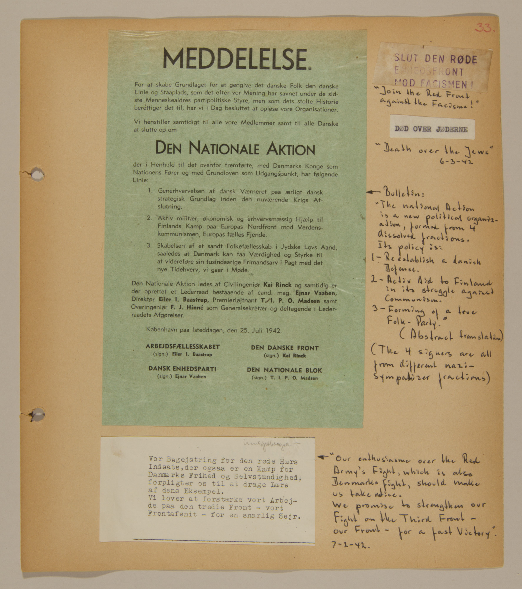 Page from volume two of a set of scrapbooks compiled by Bjorn Sibbern, a Danish policeman and resistance member, documenting the German occupation of Denmark.  This page contains anti-Nazi resistance leaflets.