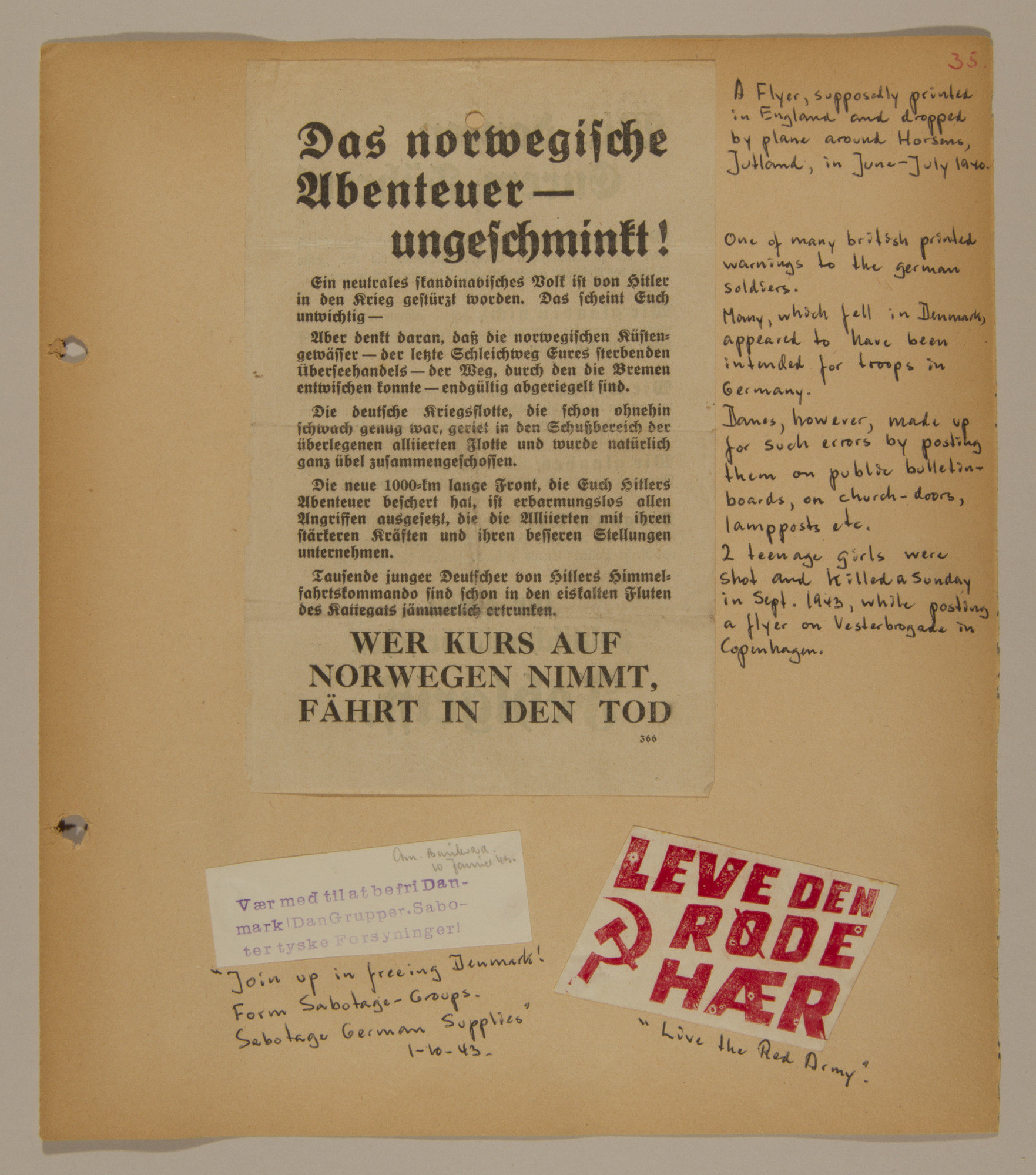Page from volume two of a set of scrapbooks compiled by Bjorn Sibbern, a Danish policeman and resistance member, documenting the German occupation of Denmark.  This page contains a leaflet printed in England and air dropped over Denmark as a warning to German soldiers.  The page also has smaller anit-Fascist stickers.