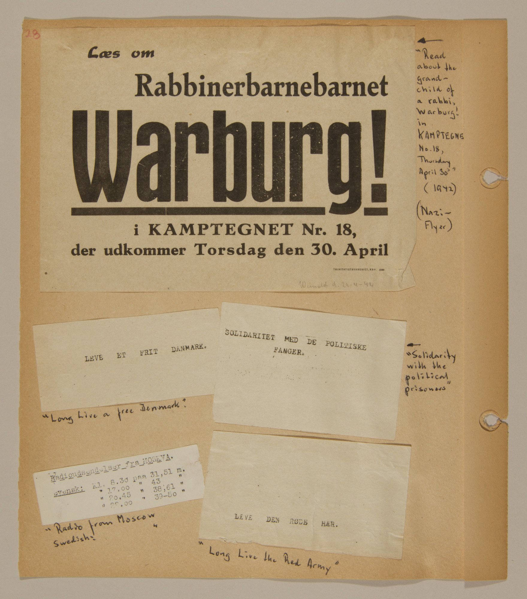 Page from volume two of a set of scrapbooks compiled by Bjorn Sibbern, a Danish policeman and resistance member, documenting the German occupation of Denmark.  This page has an antisemitic Nazi flyer.