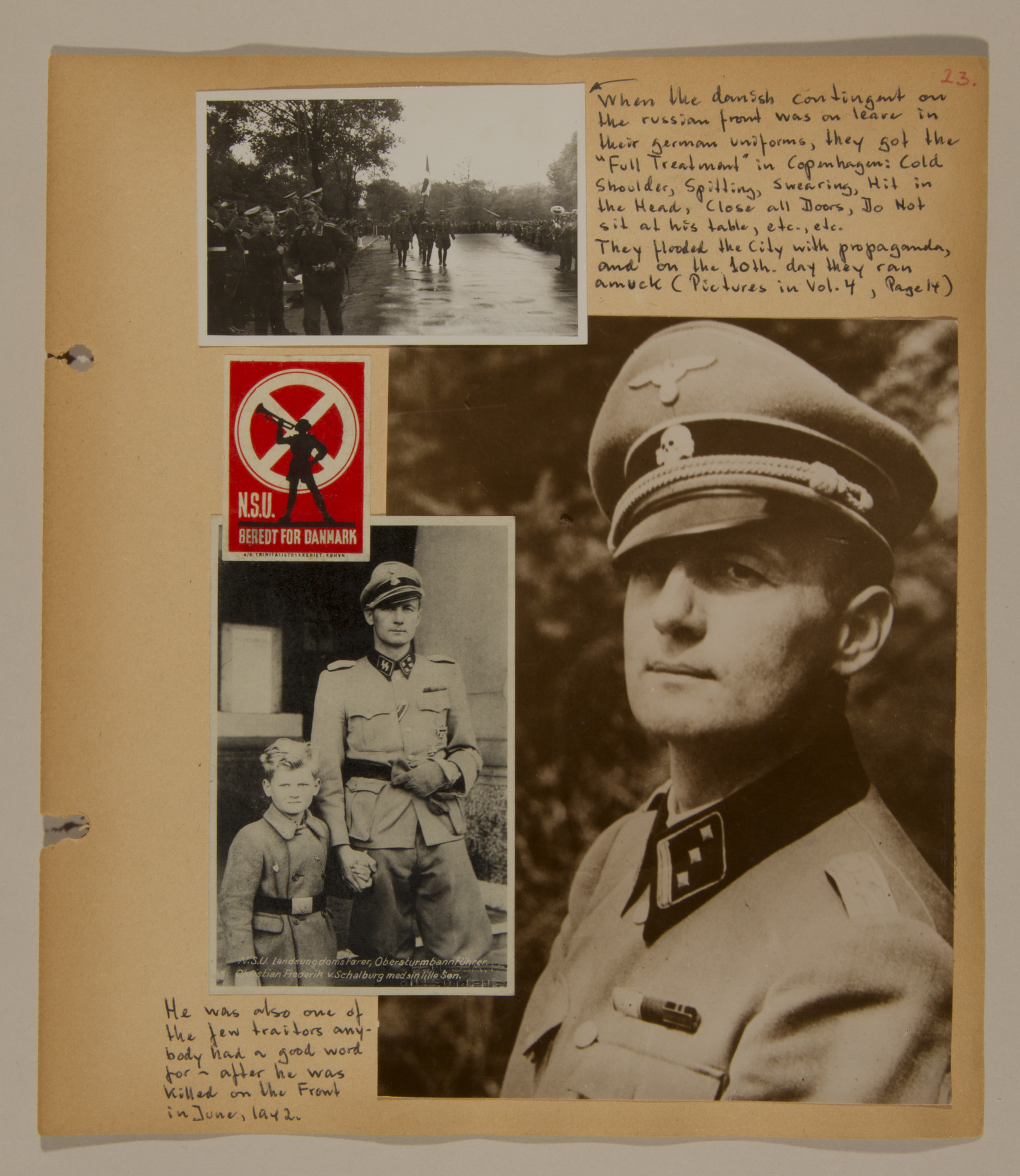 Page from volume two of a set of scrapbooks compiled by Bjorn Sibbern, a Danish policeman and resistance member, documenting the German occupation of Denmark.  This page has photographs of Danish collaborators who fought with the Germans.