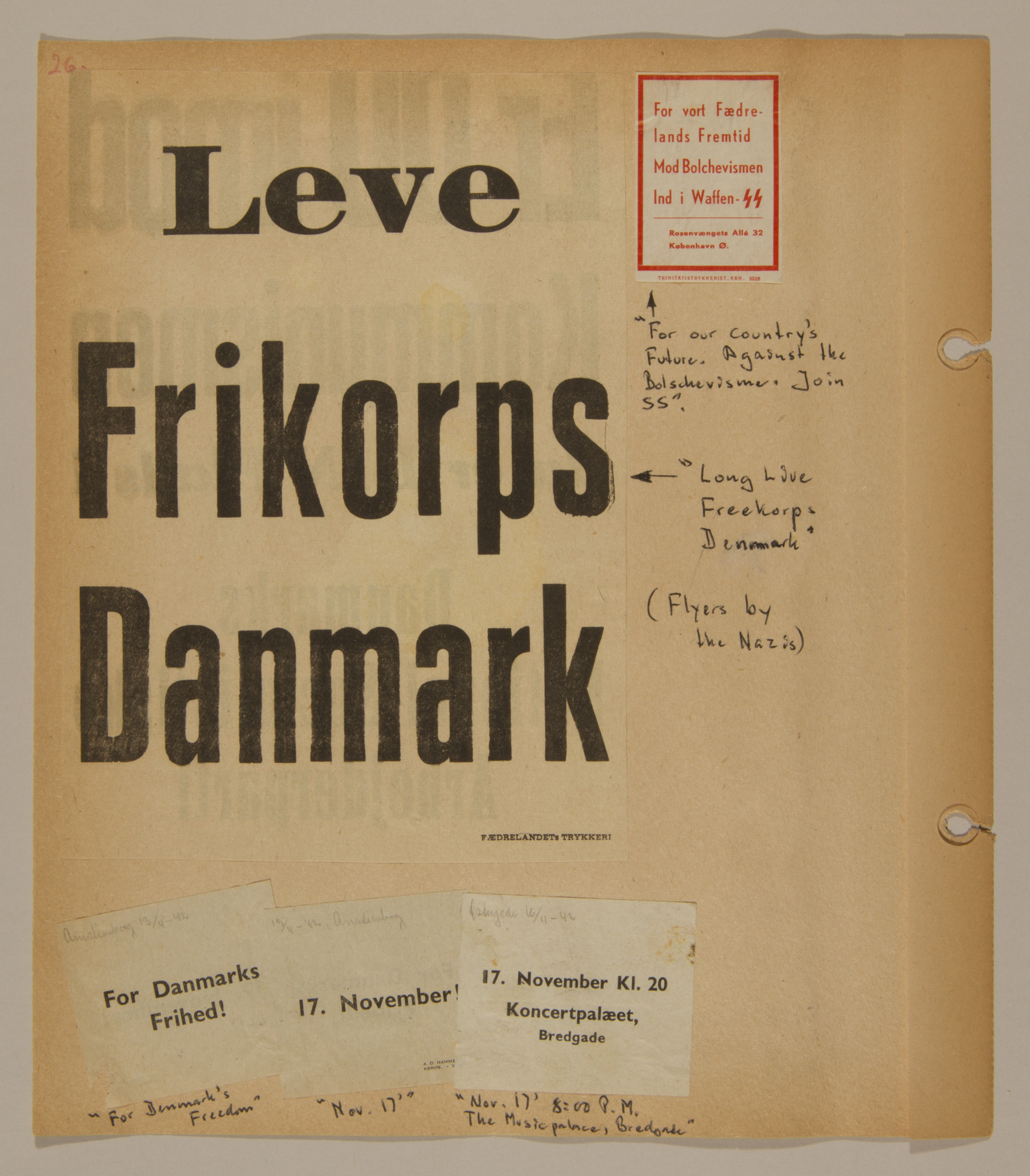 Page from volume two of a set of scrapbooks compiled by Bjorn Sibbern, a Danish policeman and resistance member, documenting the German occupation of Denmark.  This page has of a poster of the Frikorps, Danish collaborators who fought with the Germans.
