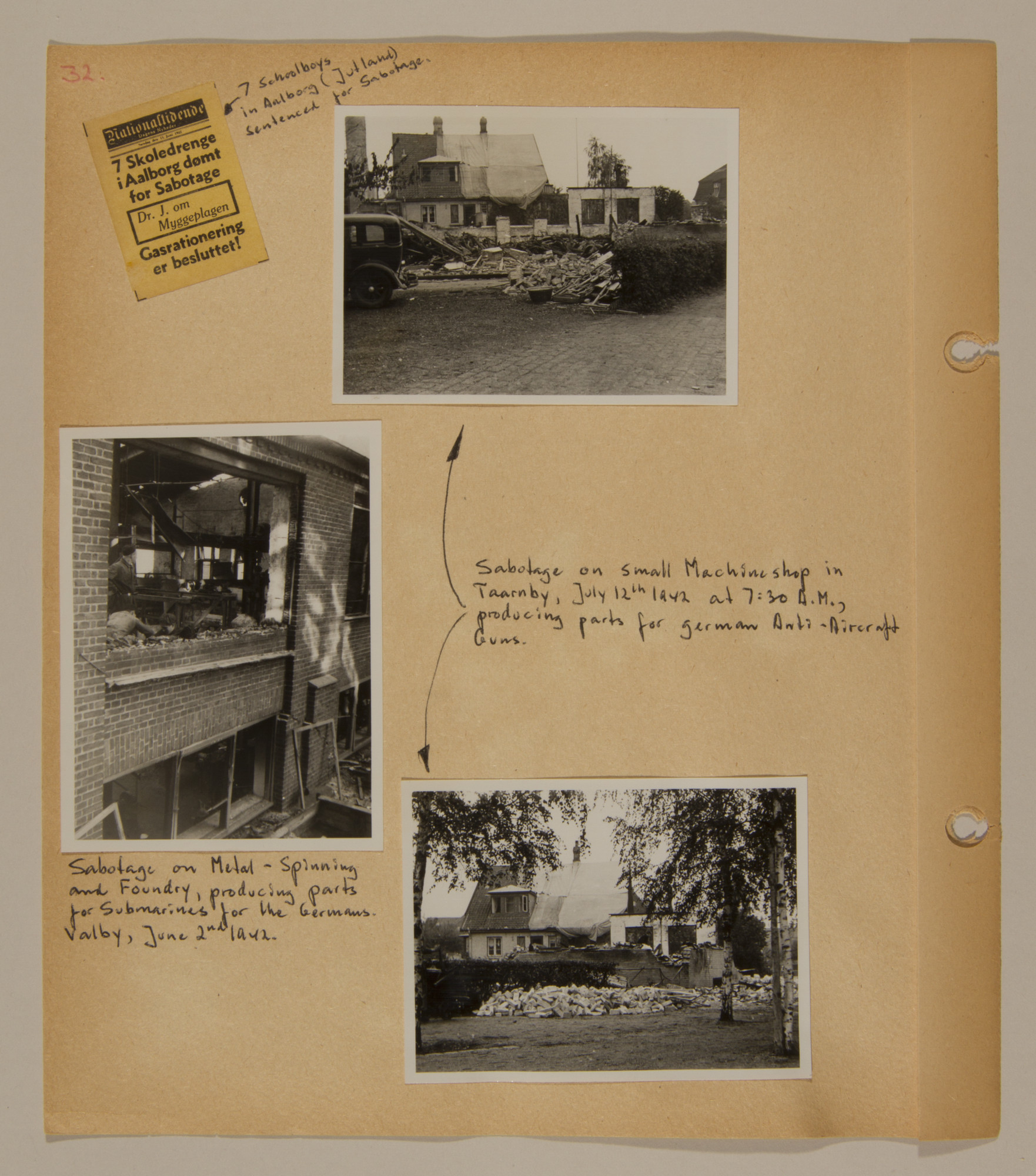 Page from volume two of a set of scrapbooks compiled by Bjorn Sibbern, a Danish policeman and resistance member, documenting the German occupation of Denmark.  This page contains photographs of anti-Nazi sabotage.