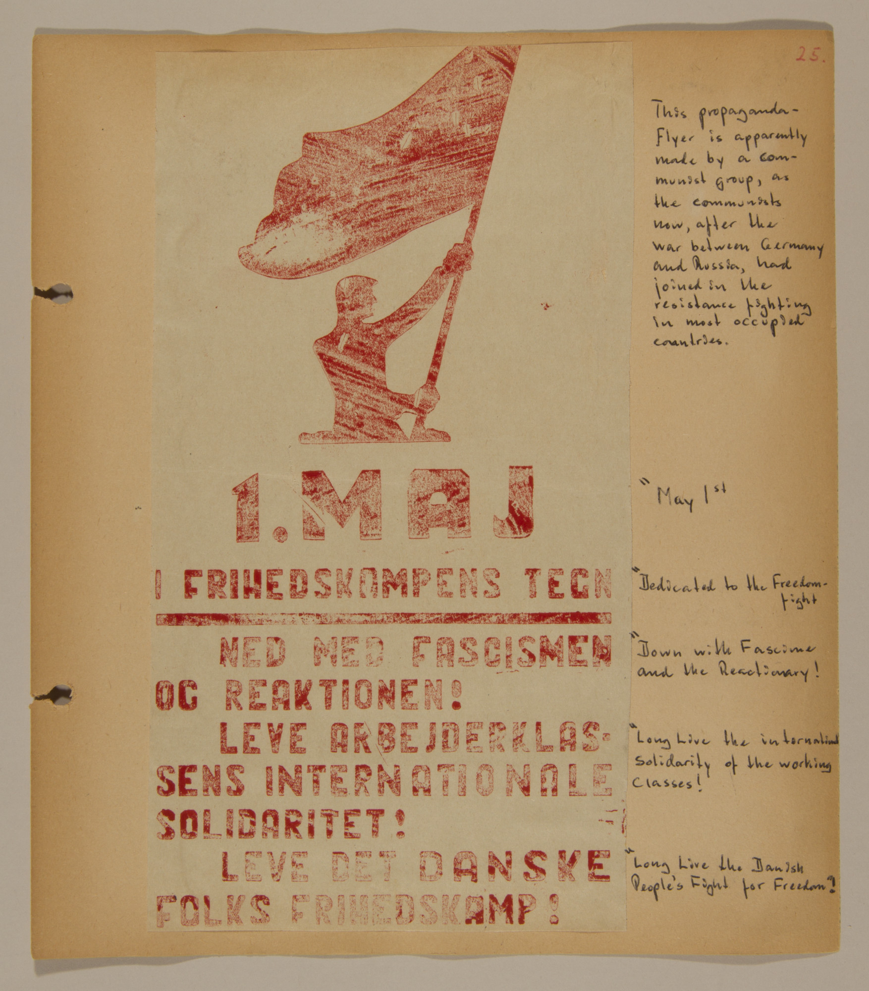 Page from volume two of a set of scrapbooks compiled by Bjorn Sibbern, a Danish policeman and resistance member, documenting the German occupation of Denmark.  This page has a poster for a Communist group.
