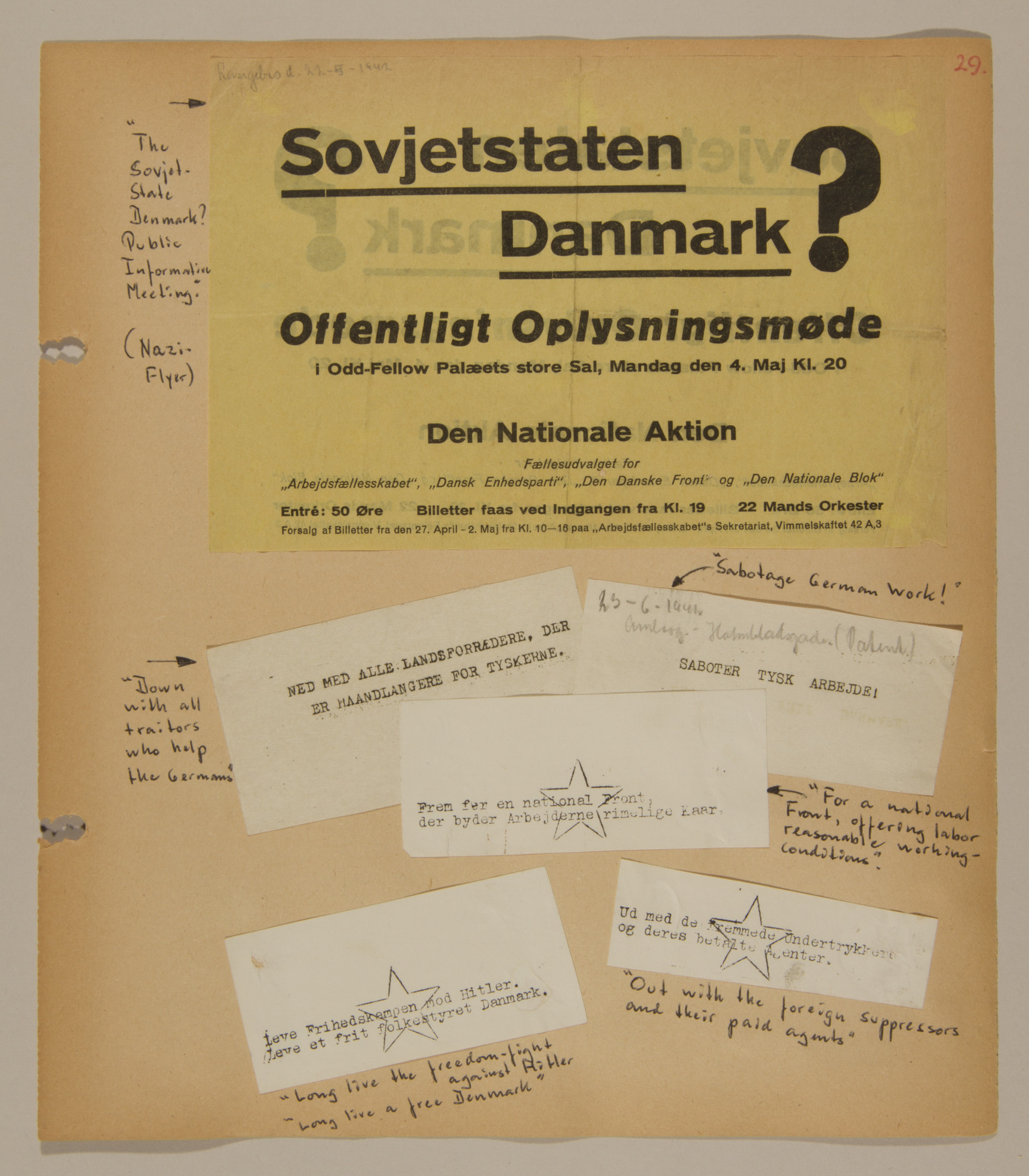 Page from volume two of a set of scrapbooks compiled by Bjorn Sibbern, a Danish policeman and resistance member, documenting the German occupation of Denmark.  This page contains both Nazi and resistance flyers.