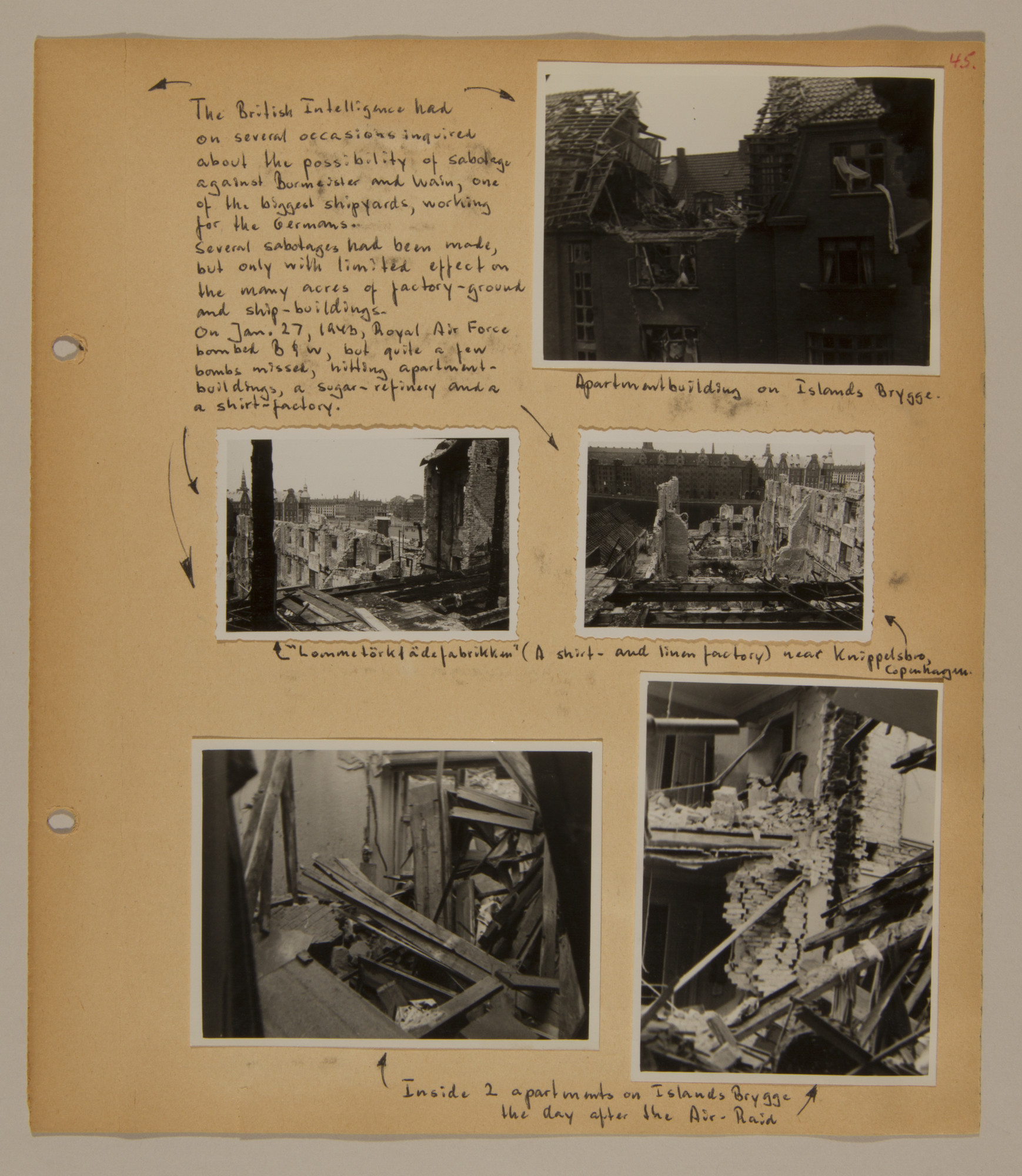 Page from volume three of a set of scrapbooks compiled by Bjorn Sibbern, a Danish policeman and resistance member, documenting the German occupation of Denmark.  This page contains photographs of anti-German sabotage.