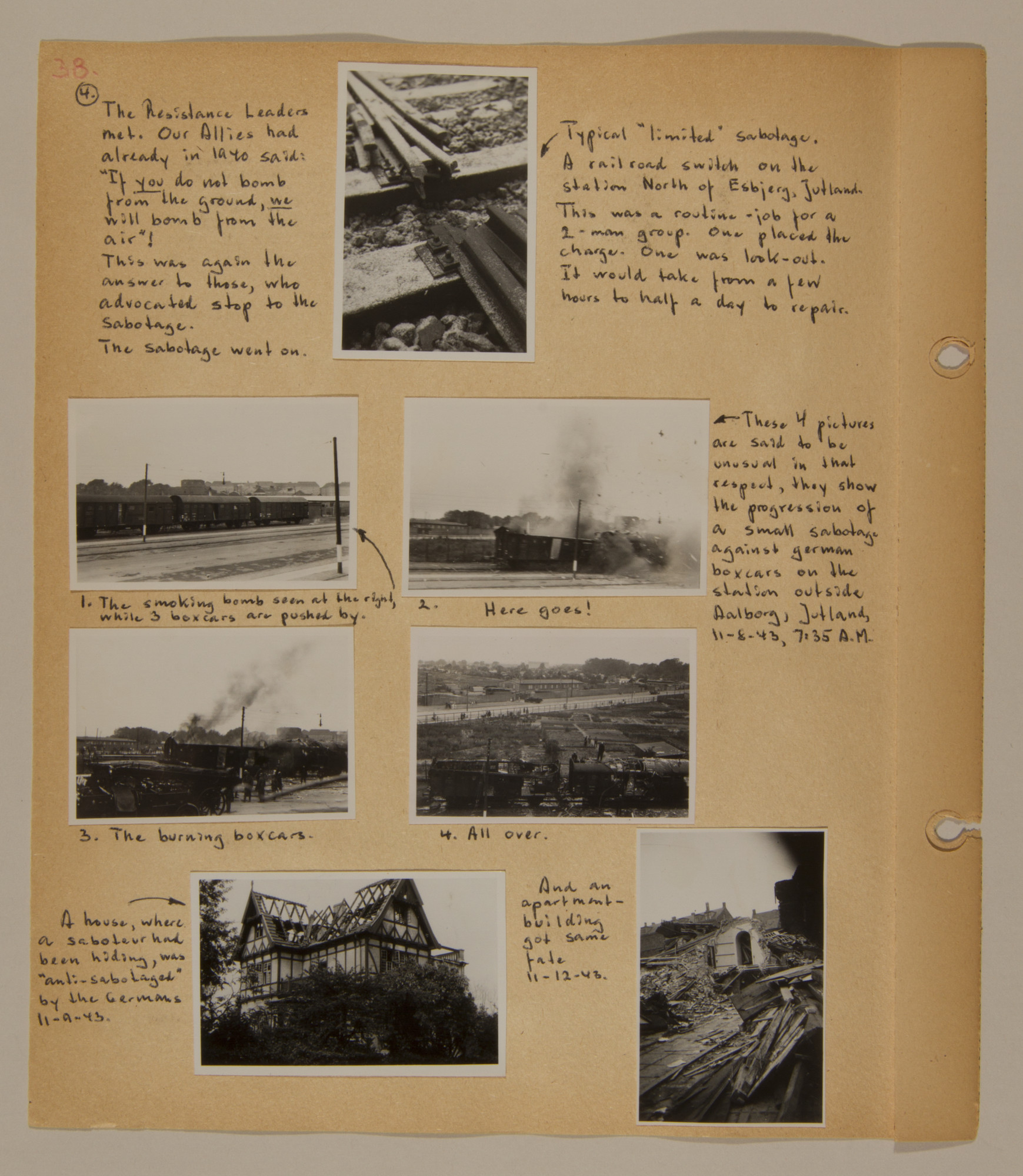 Page from volume three of a set of scrapbooks compiled by Bjorn Sibbern, a Danish policeman and resistance member, documenting the German occupation of Denmark.  This page contains photographs of anti-Nazi sabotage.