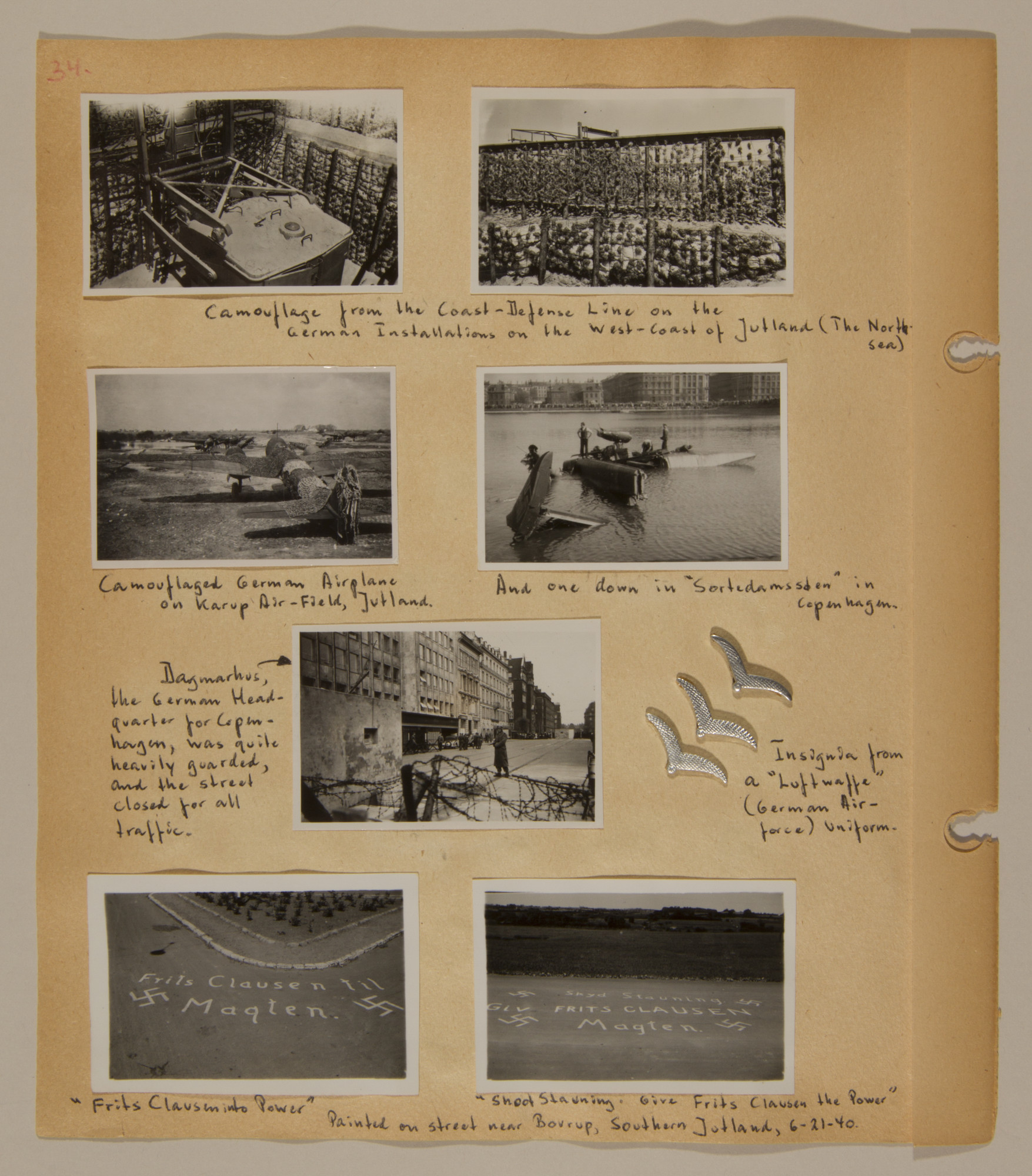 Page from volume three of a set of scrapbooks compiled by Bjorn Sibbern, a Danish policeman and resistance member, documenting the German occupation of Denmark.  This page contains photographs of camouflage and targetting.