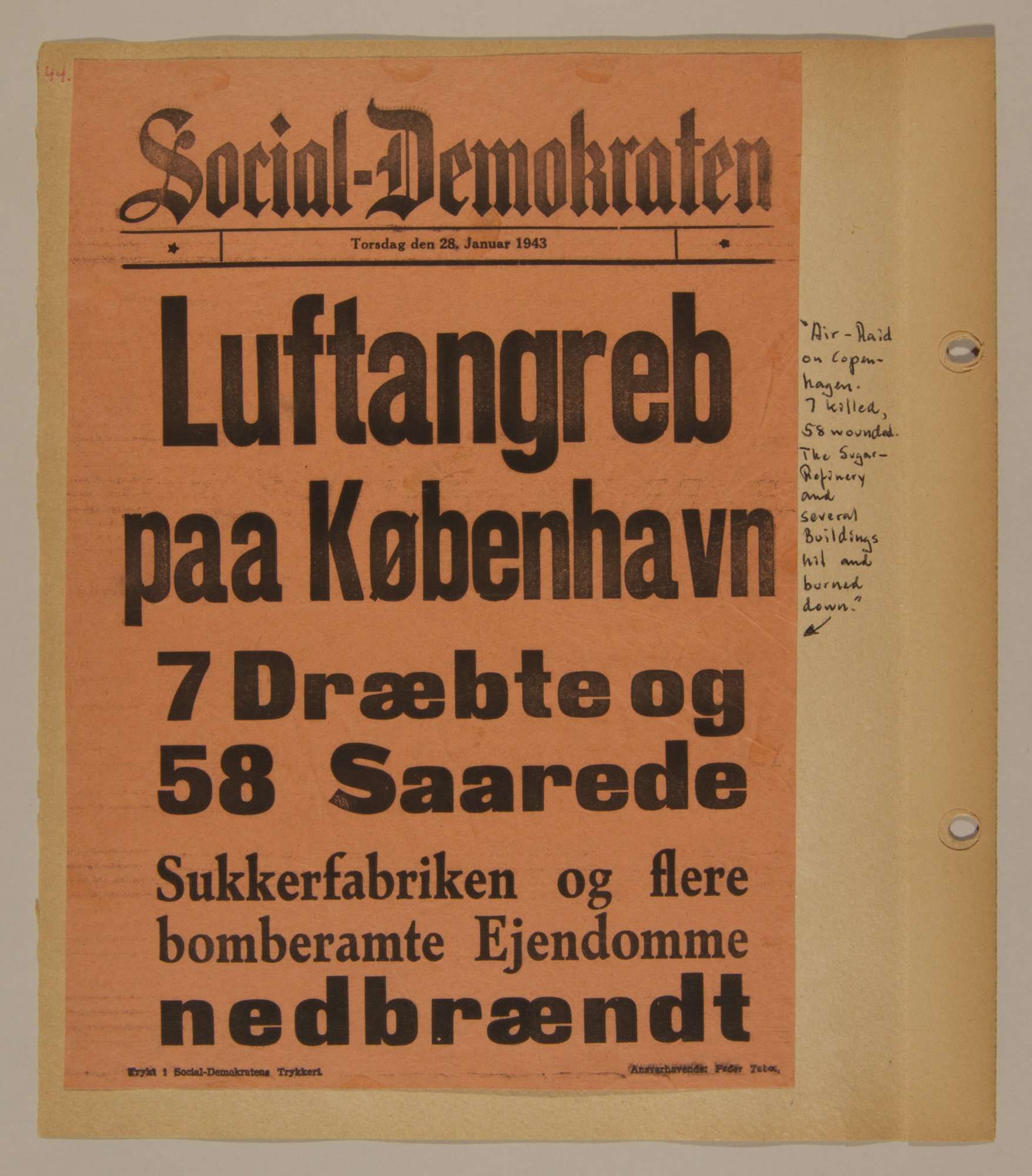 Page from volume three of a set of scrapbooks compiled by Bjorn Sibbern, a Danish policeman and resistance member, documenting the German occupation of Denmark.  This page contains a news report of an air-raid on Copenhagen.