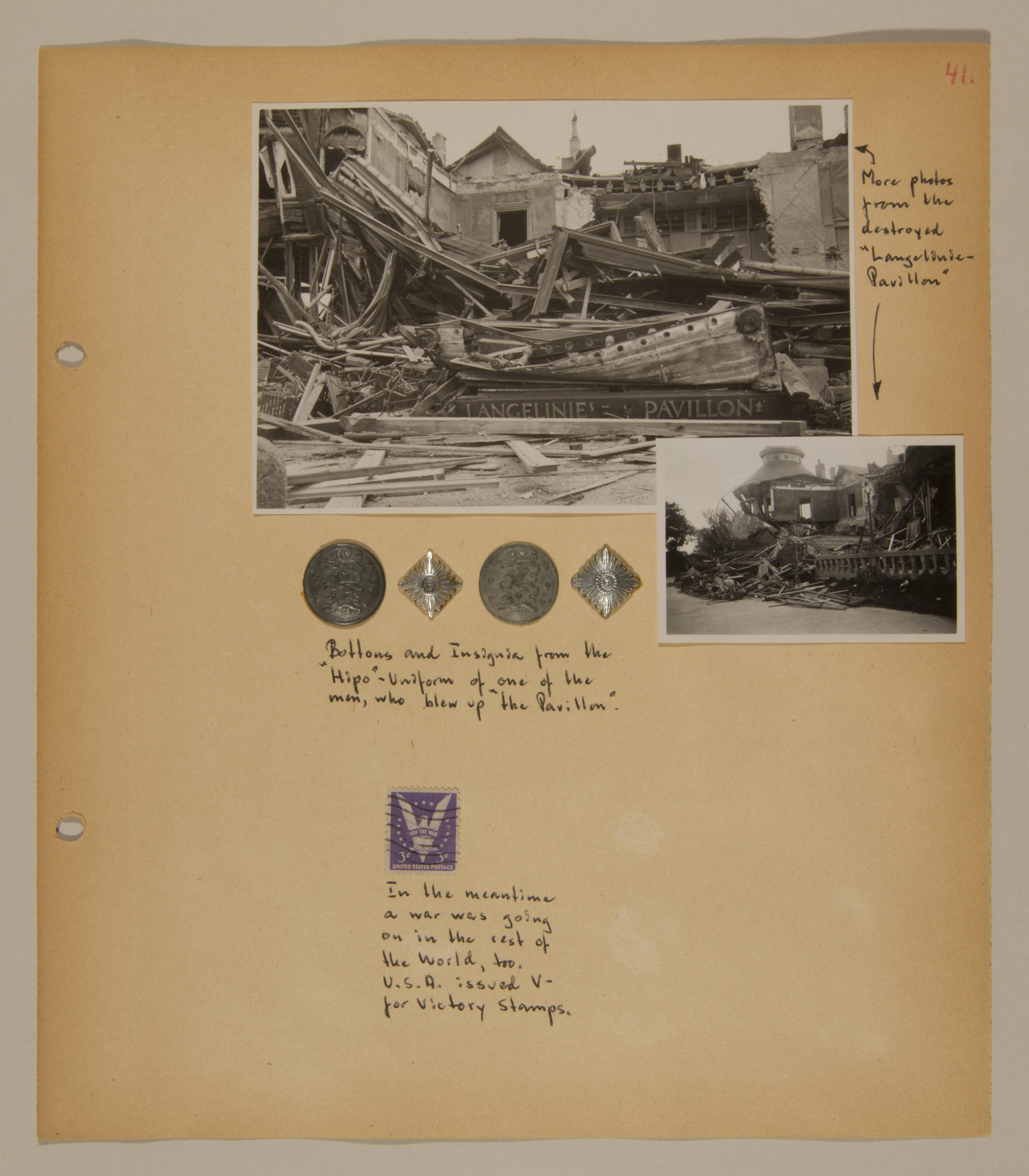 Page from volume three of a set of scrapbooks compiled by Bjorn Sibbern, a Danish policeman and resistance member, documenting the German occupation of Denmark.  This page contains photographs of anti-Nazi sabotage and buttons and insignia of a resistance member posing as a member of the secret police who was responsible for the sabotage.