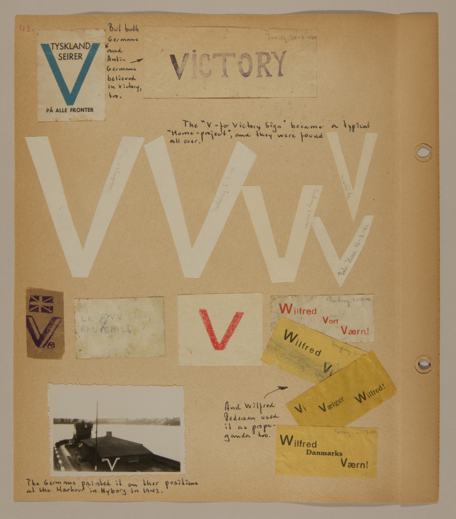 """Page from volume three of a set of scrapbooks compiled by Bjorn Sibbern, a Danish policeman and resistance member, documenting the German occupation of Denmark.  This page contains examples of various """"V for Victory"""" signs."""