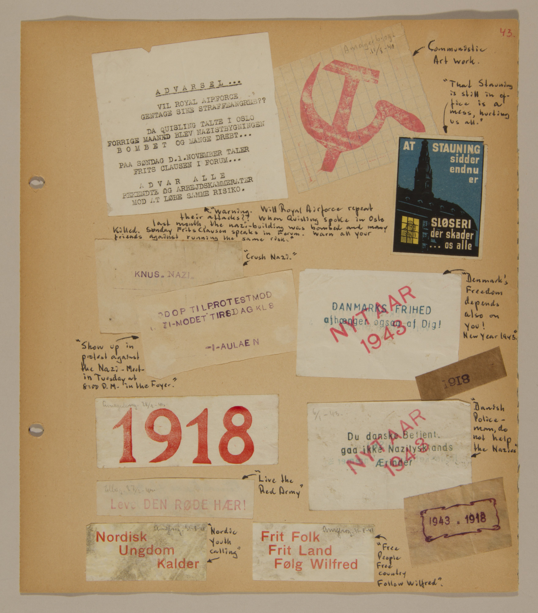 Page from volume three of a set of scrapbooks compiled by Bjorn Sibbern, a Danish policeman and resistance member, documenting the German occupation of Denmark.  This page contains a collection of anti-Nazi handbills.